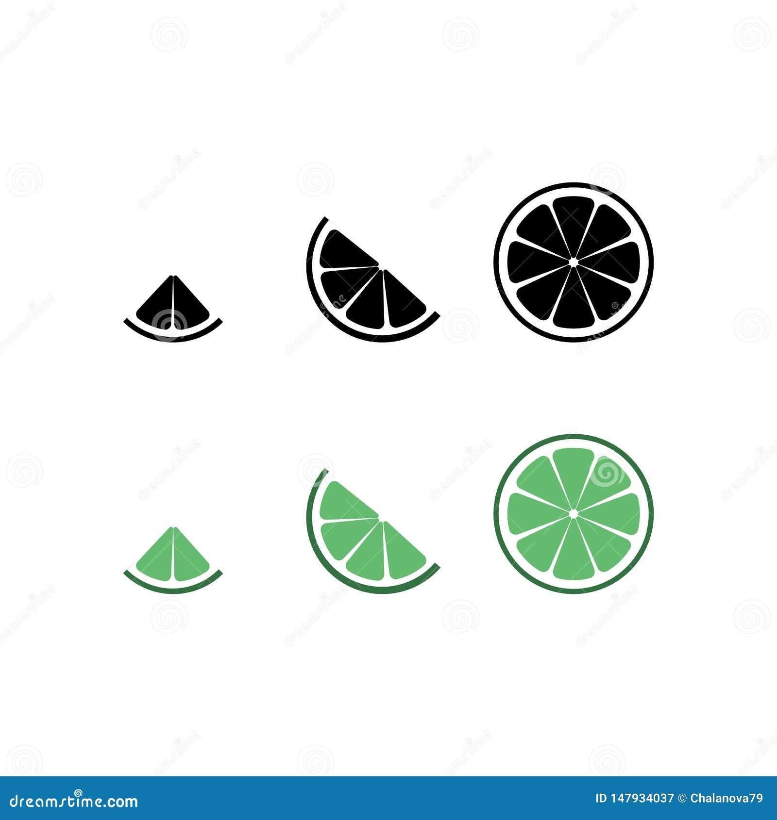 Limefruktlogo Isolerad limefrukt p? vitbakgrund 10 eps ocks? vektor f?r coreldrawillustration Den svarta limefruktkonturn och grö