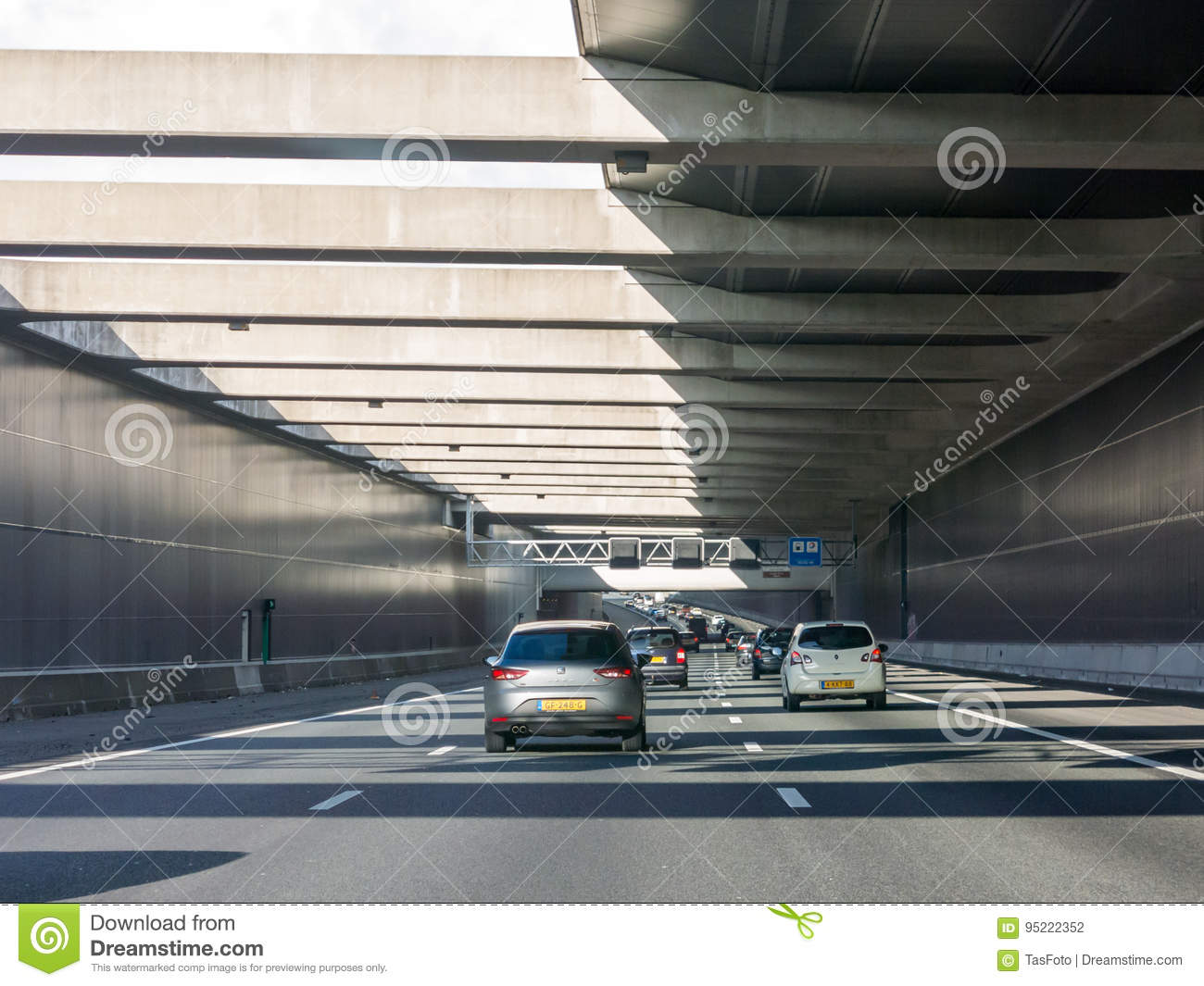 Limes Aqueduct On Highway A4, Leiderdorp, Netherlands