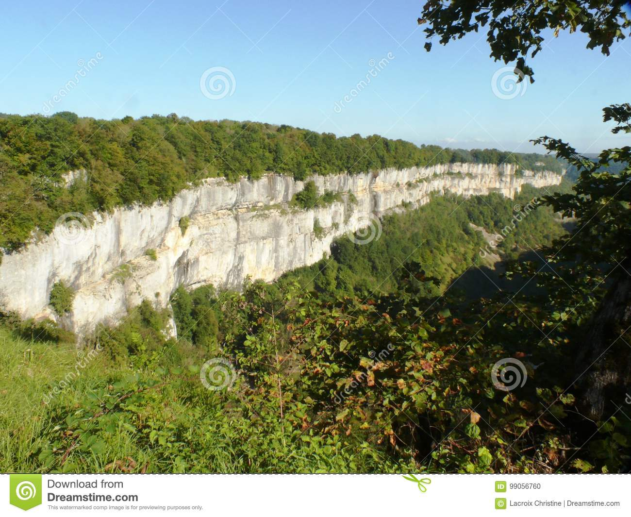 Limestone cliffs of the Baume les Messieurs circus in France.