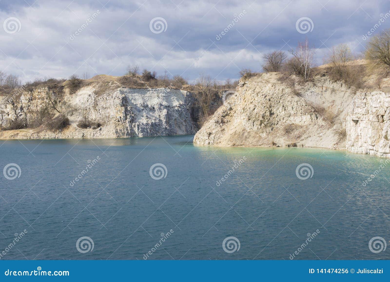 Limestone Quarry, Quarry Zakrzówek, Kraków, Poland Stock