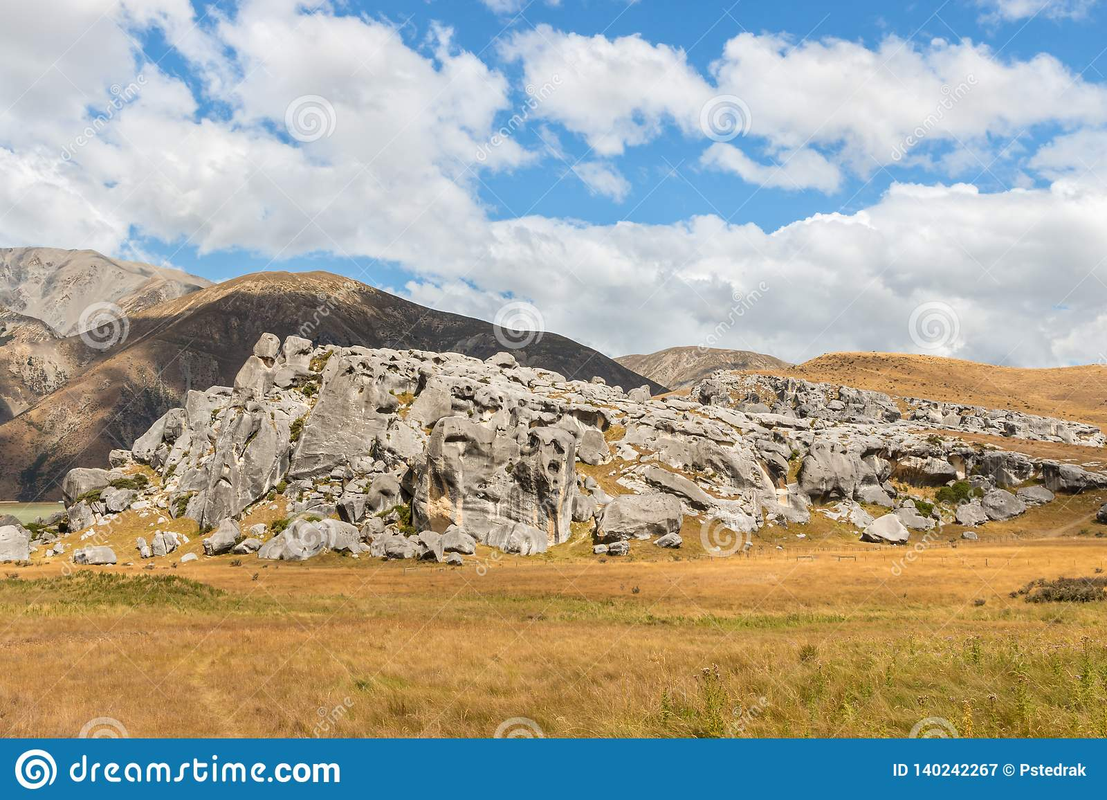 Limestone Rock Formation At The Castle Hill In New Zealand