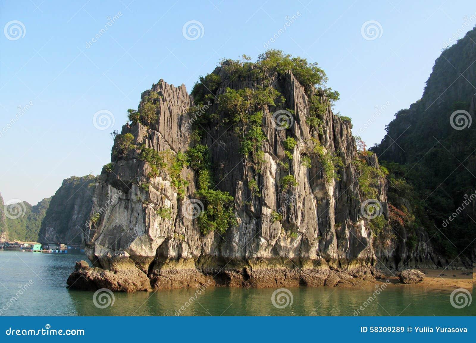 Limestone rocks in the sea bay