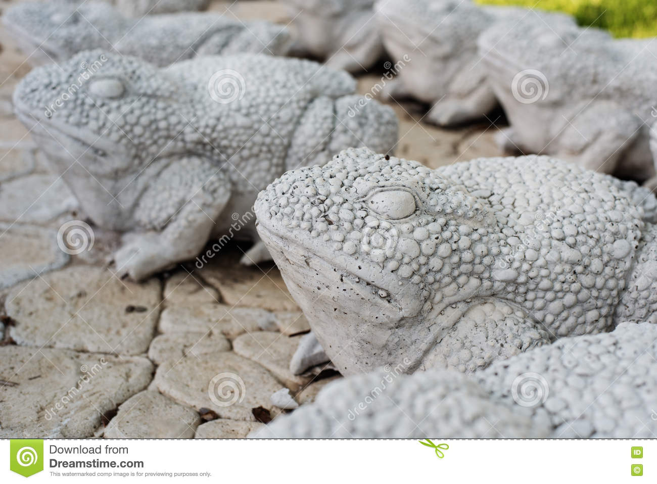 Download Limestone Statues Of Frogs. Stone Walkway. Frogs On Alley In  Beautiful Garden With