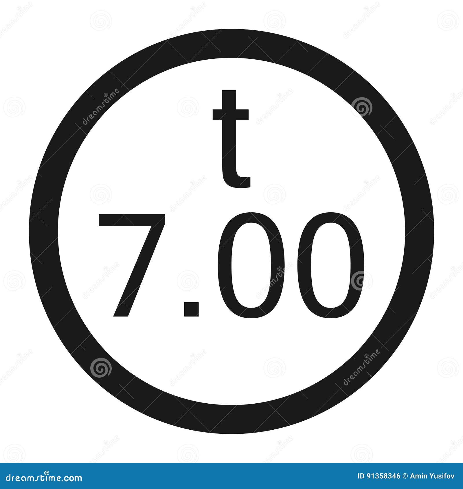Limitazione del peso 7 tonnellate di linea icona del segno