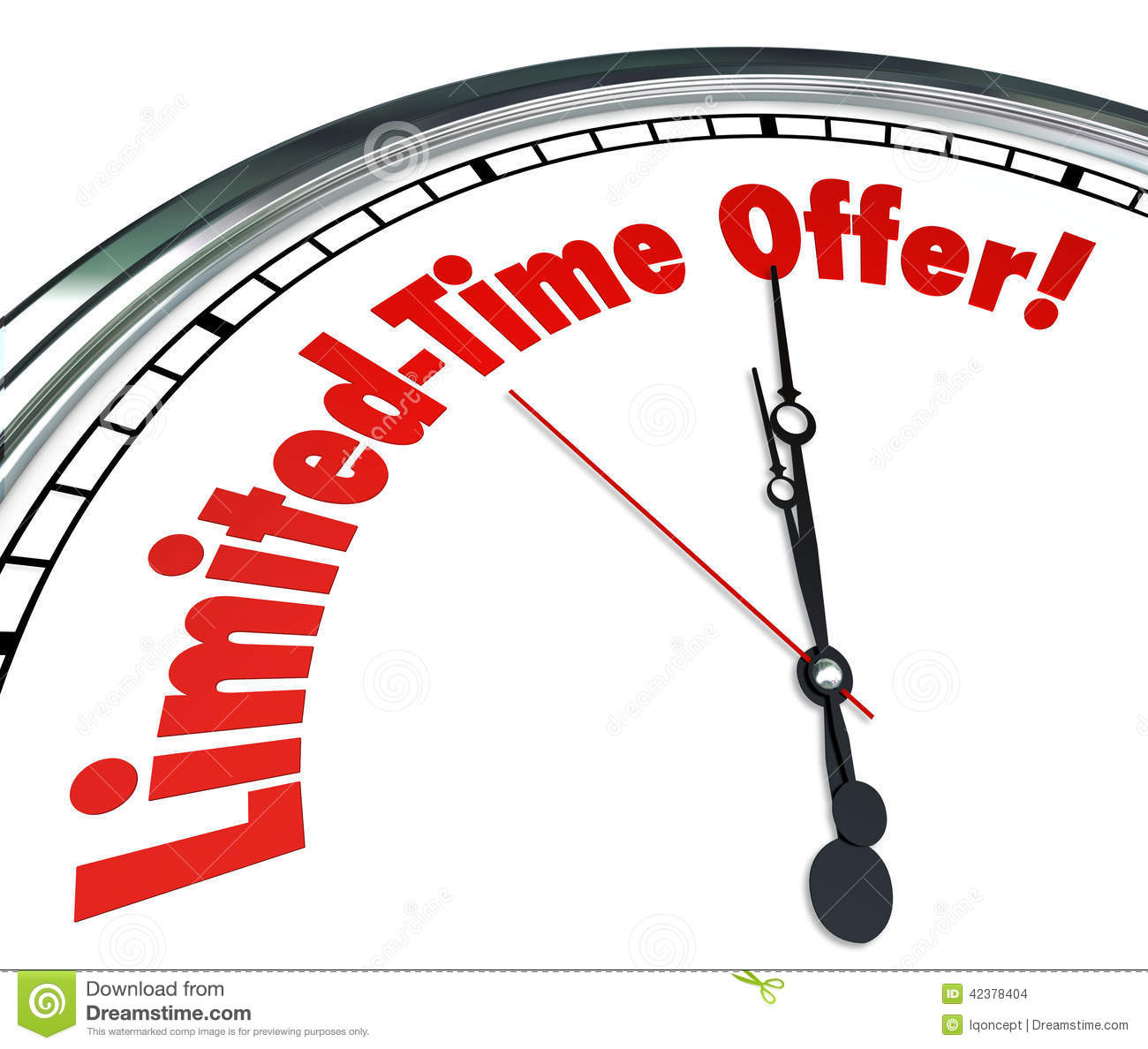 Limited Time Offer Clock Special Saving Sale Clearance