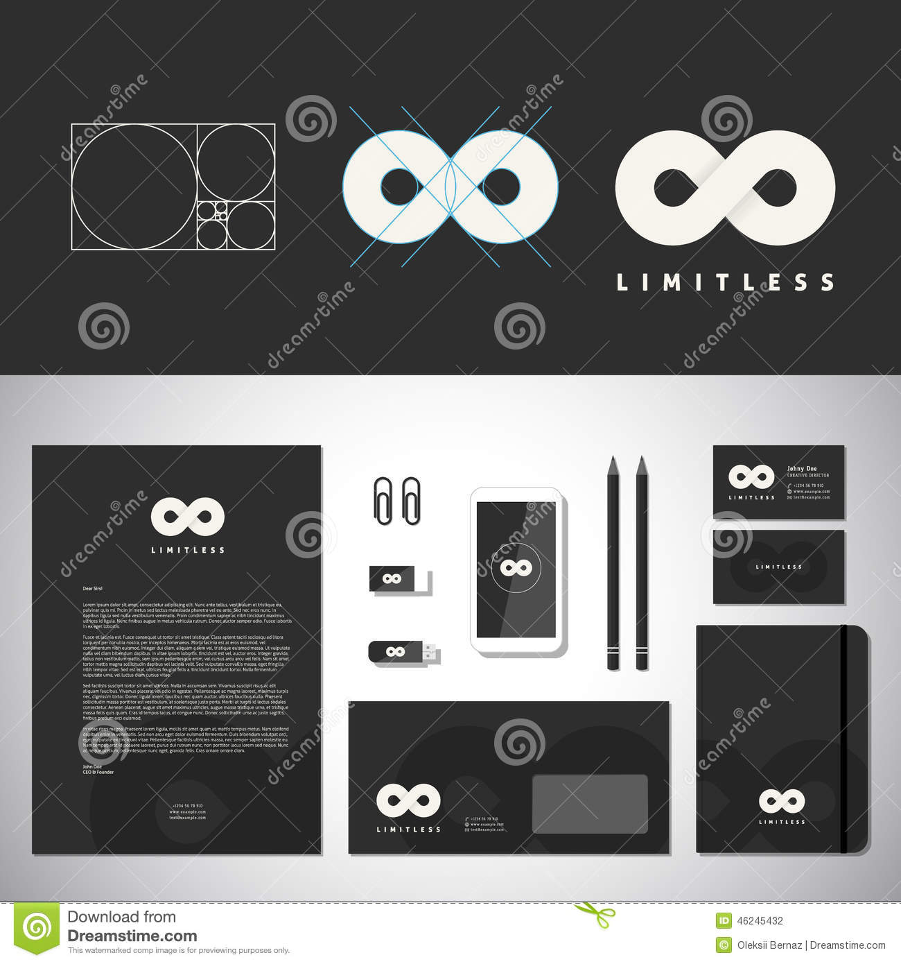 limitless abstract logo template and identity stock vector