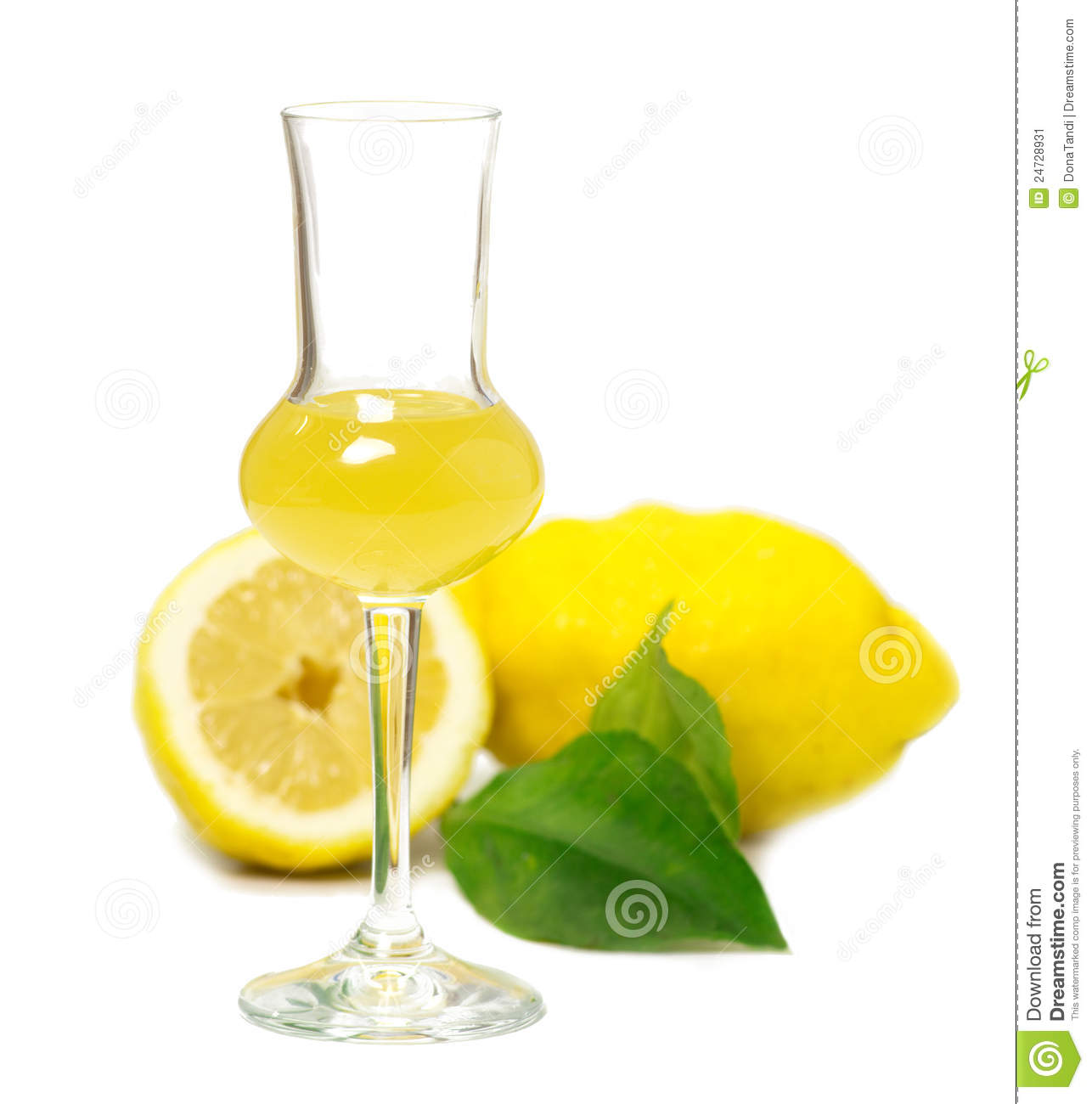 Limoncello Glass Liqueur Stock Image Image Of Leaf