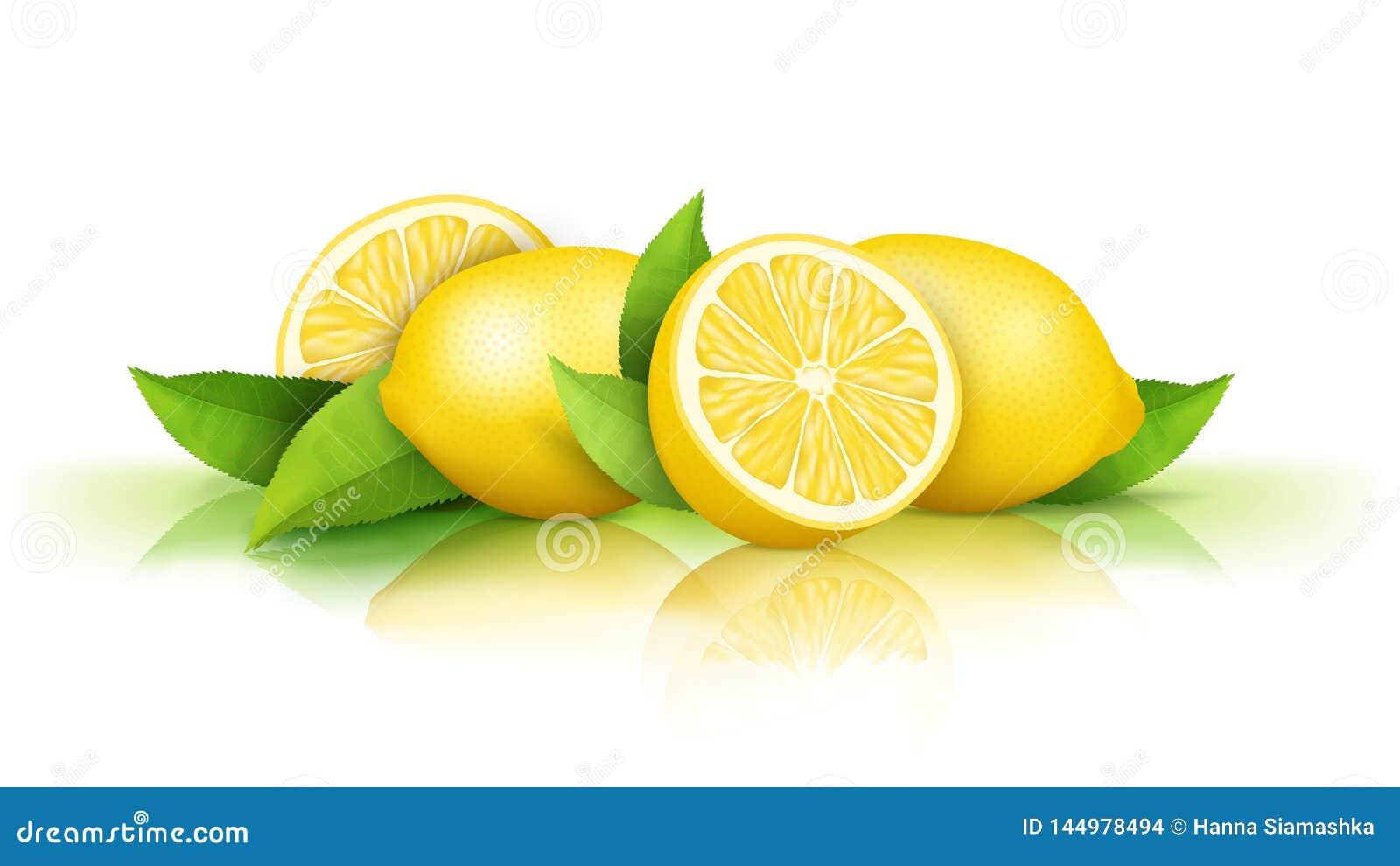 Limones y hojas verdes aislados en blanco