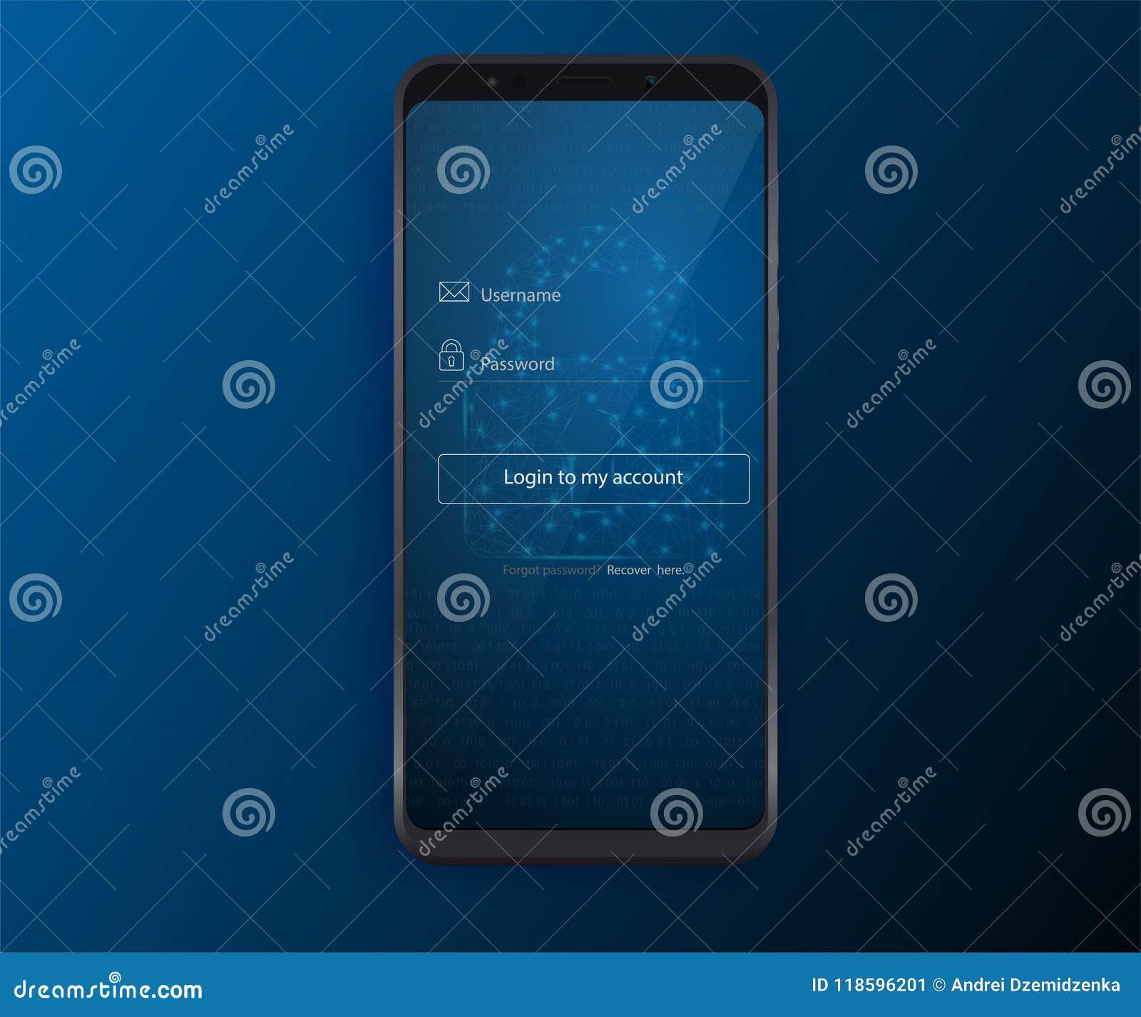 Limpe o conceito de projeto móvel de UI Aplicação do início de uma sessão com a janela do formulário da senha Ícones lisos da Web