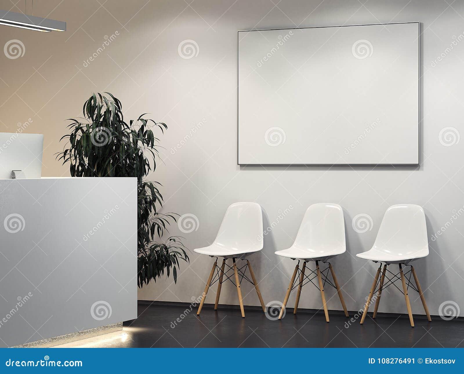 Limpe o interior brilhante com a recepção e a fileira de cadeiras rendição 3d