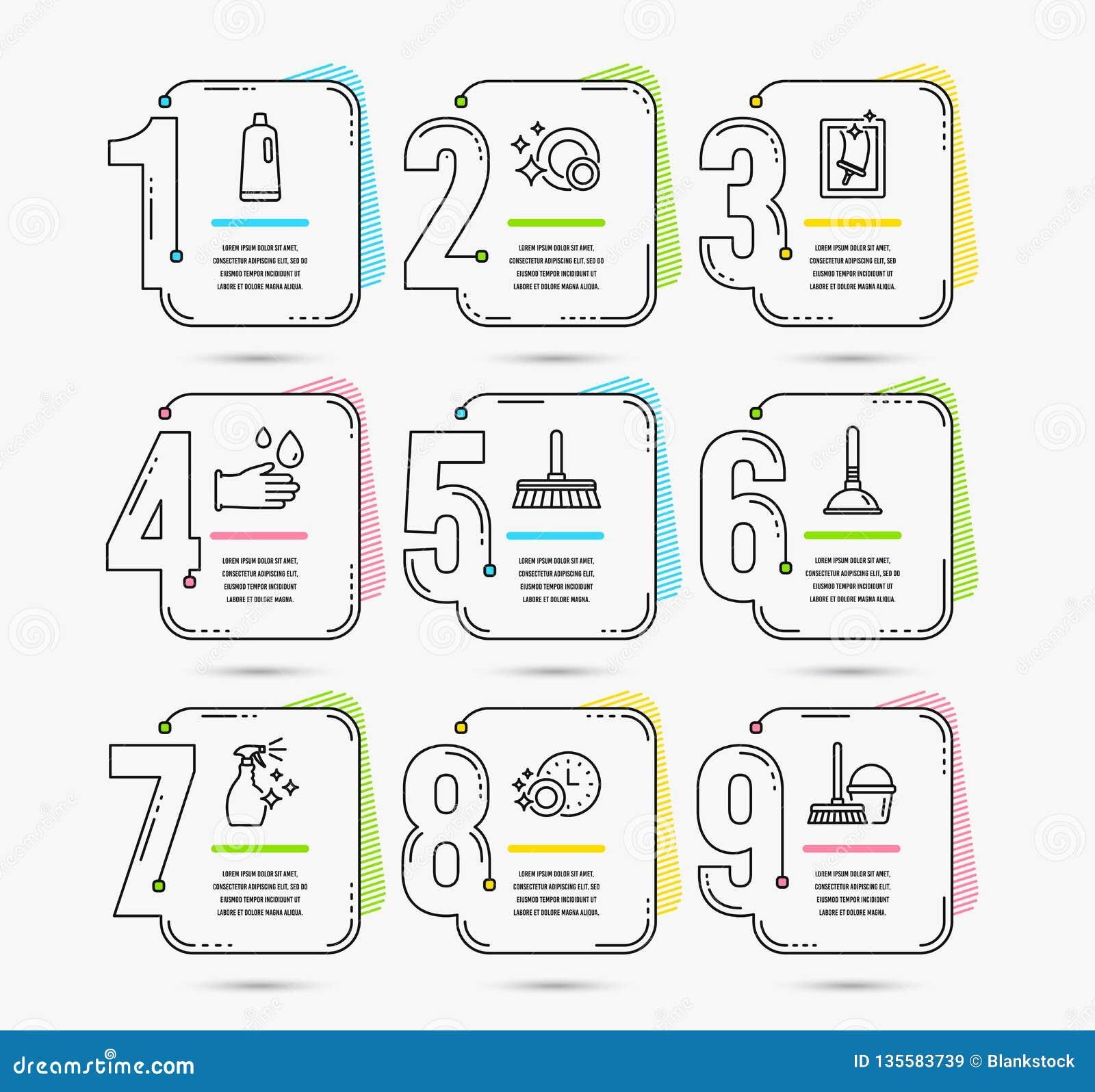 Limpeza de janela, limpador de lavagem e ícones do champô Temporizador da máquina de lavar louça, luvas de borracha e sinais do a