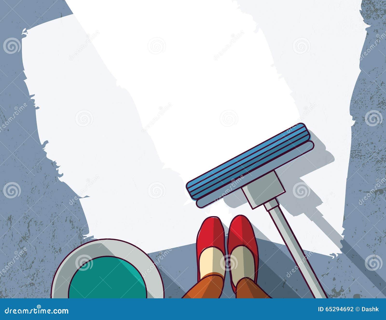 A limpeza objeta o lugar vazio da mulher do líquido de limpeza do assoalho