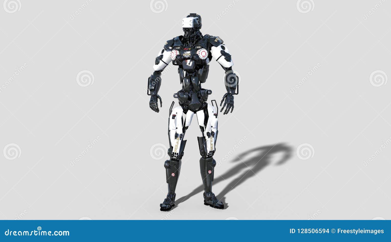 Limpie el robot, cyborg de la aplicación de ley, poli androide aislado en el fondo blanco, 3D rinden