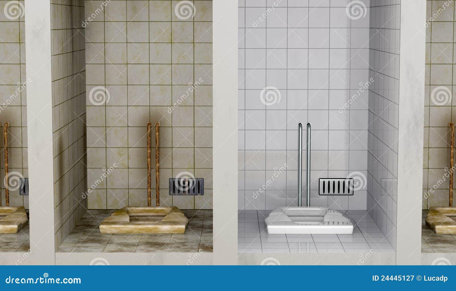 Vista dianteira de banheiros públicos. estão tudo sujos a não ser  #82A328 1300 846