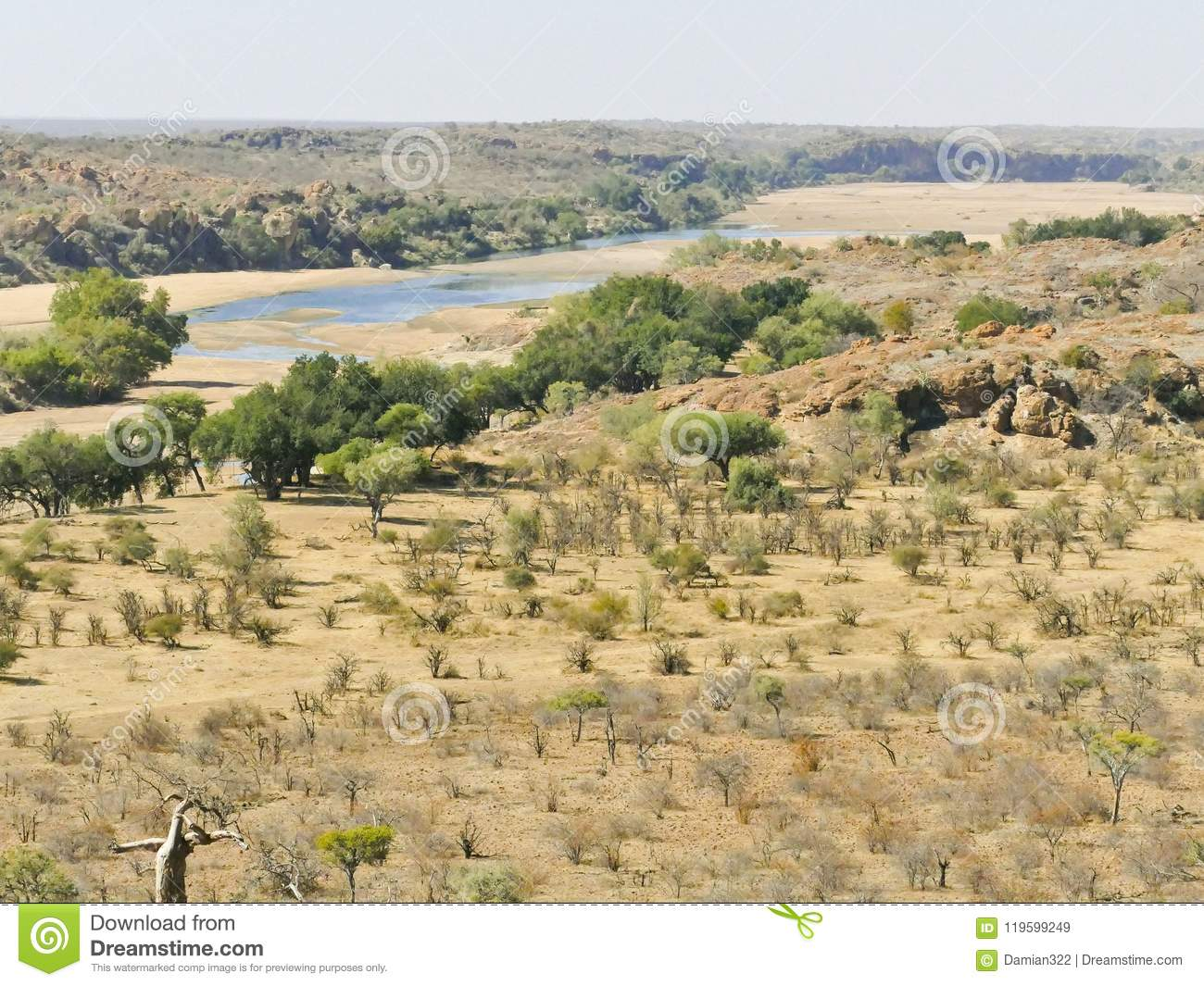 Limpopo river crossing the desert landscape of Mapungubwe Nation