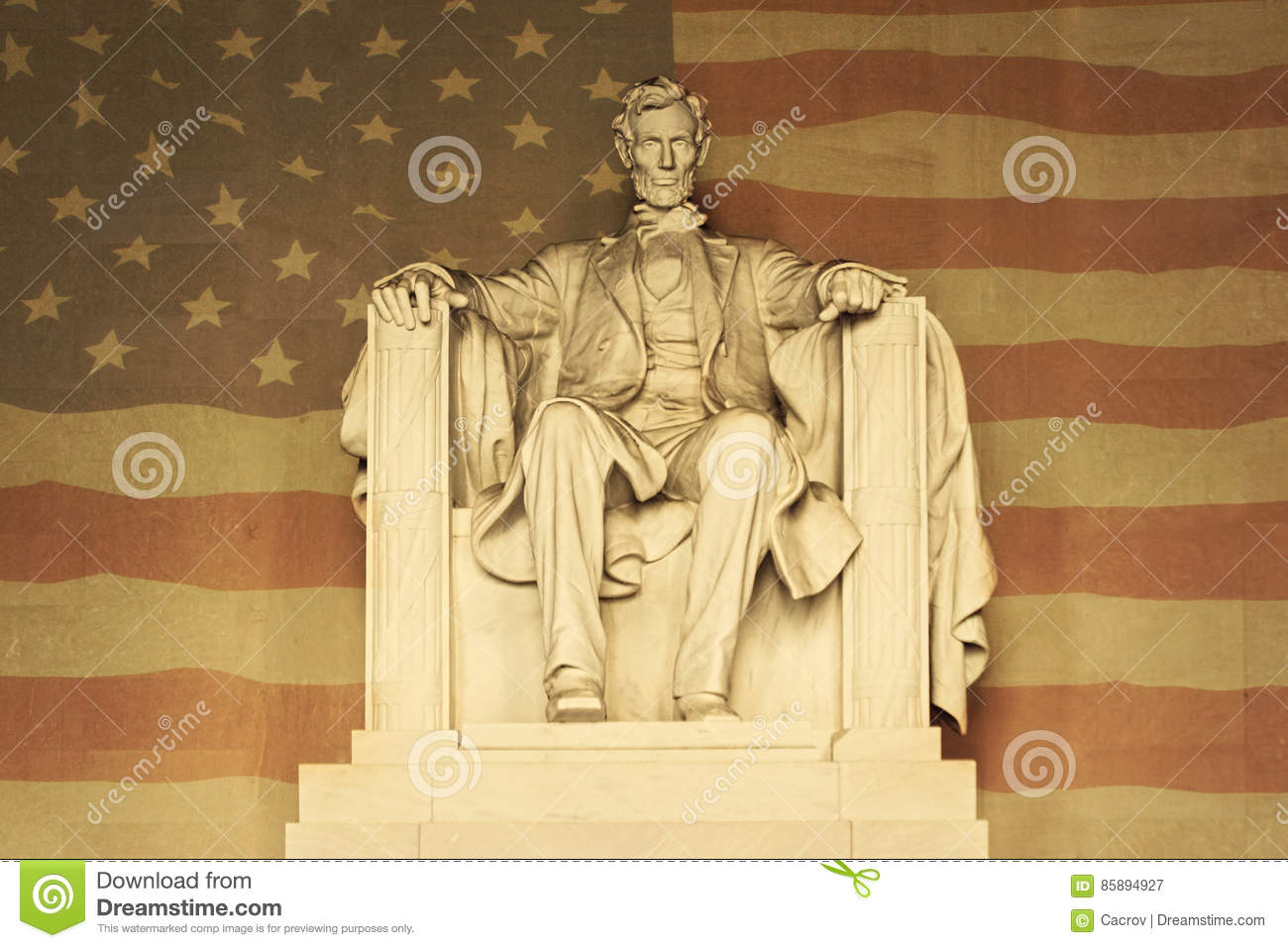 Lincoln with American flag