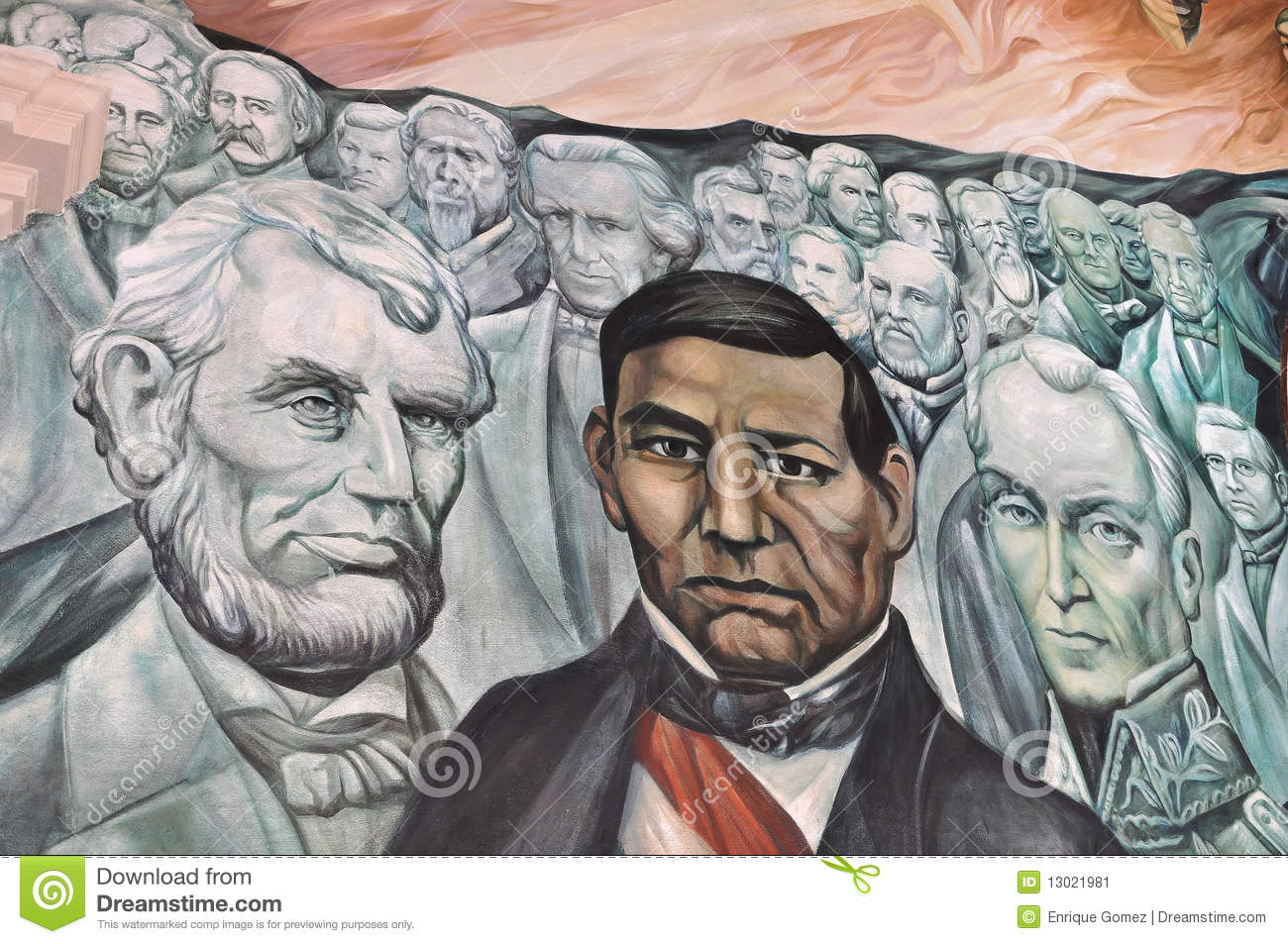 Lincoln benito juarez and bolivar editorial photo image for Benito juarez mural