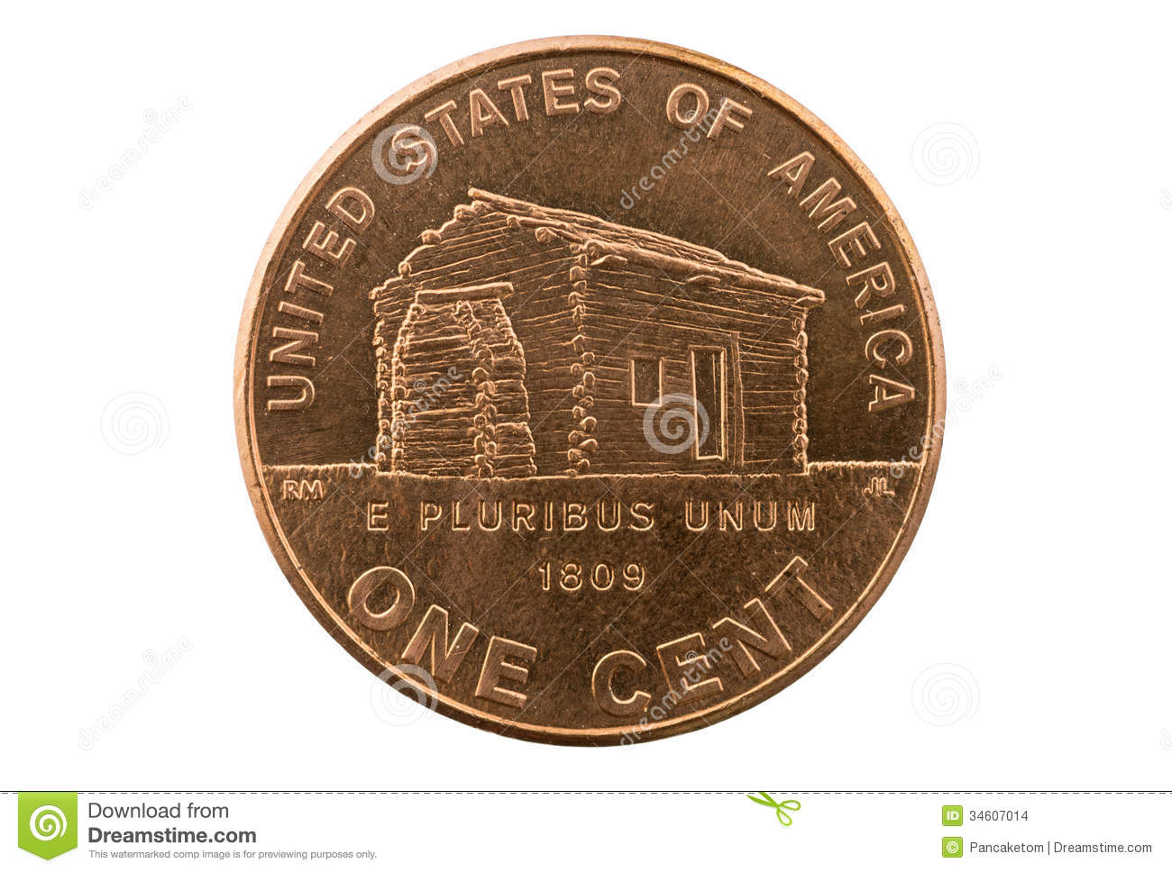 Lincoln Cabin Penny Coin Stock Images Image 34607014