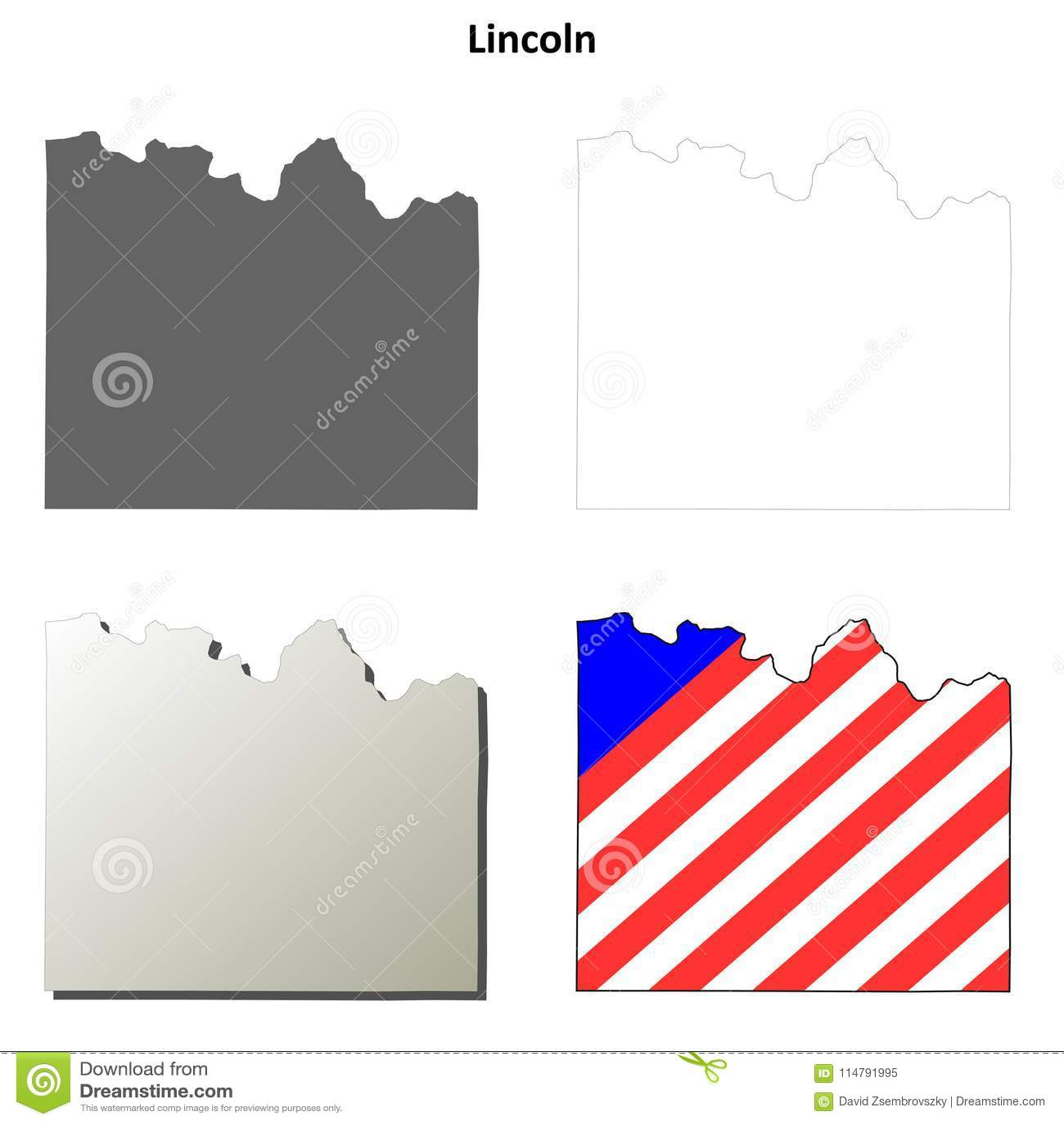 Davenport Washington Map.Lincoln County Washington Outline Map Set Stock Vector