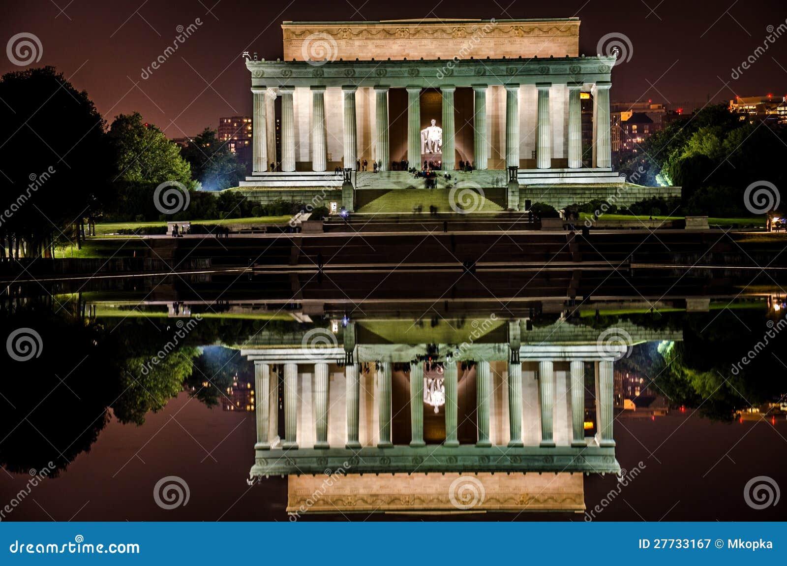 Lincoln-Erinnerungsnachtansicht mit reflektierendem Pool