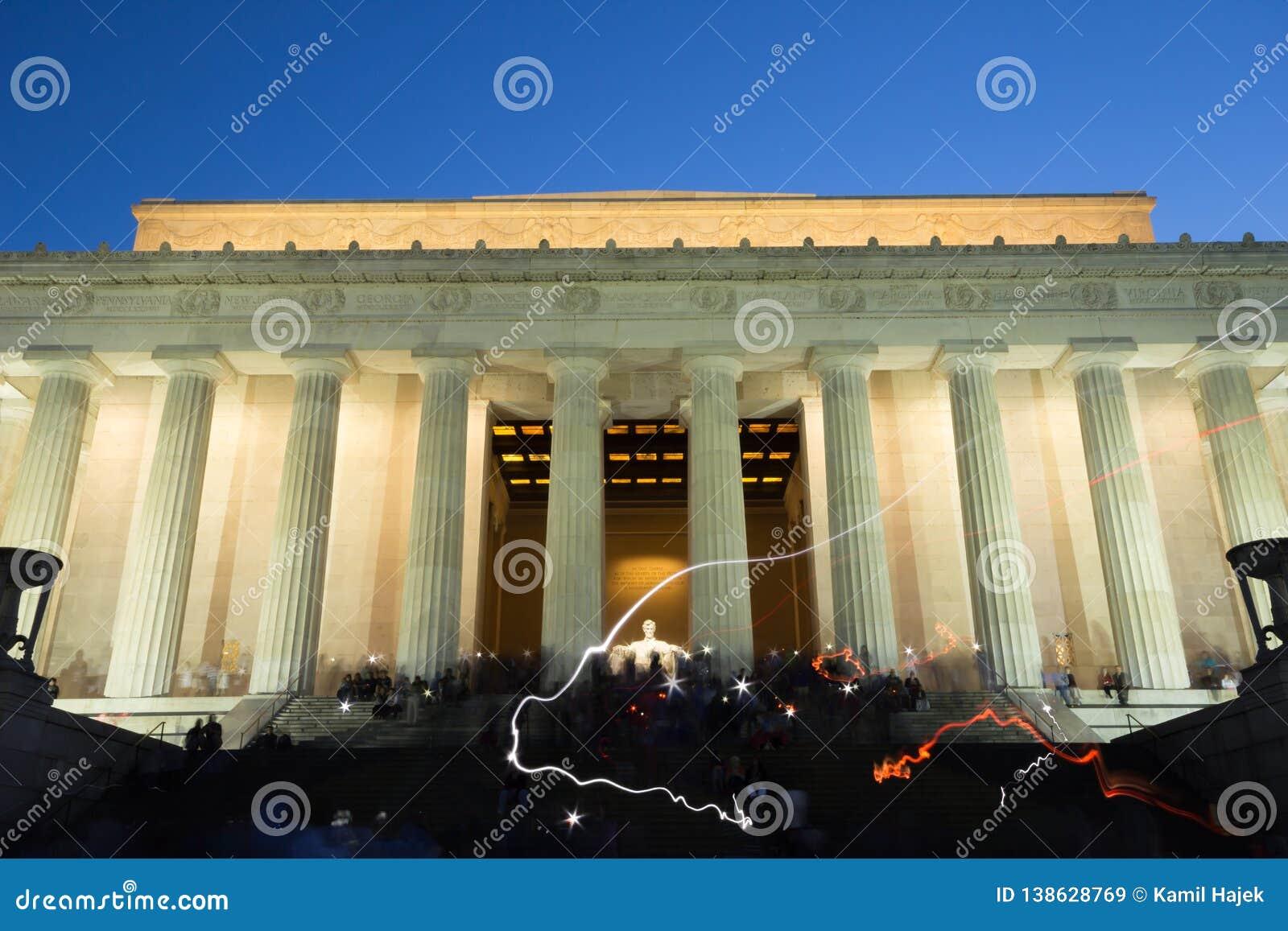 Lincoln Memorial Night Light Painting