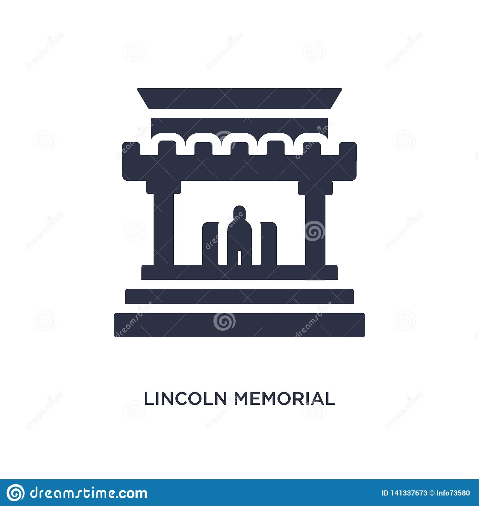 Lincoln minnes- symbol på vit bakgrund Enkel beståndsdelillustration från byggnadsbegrepp