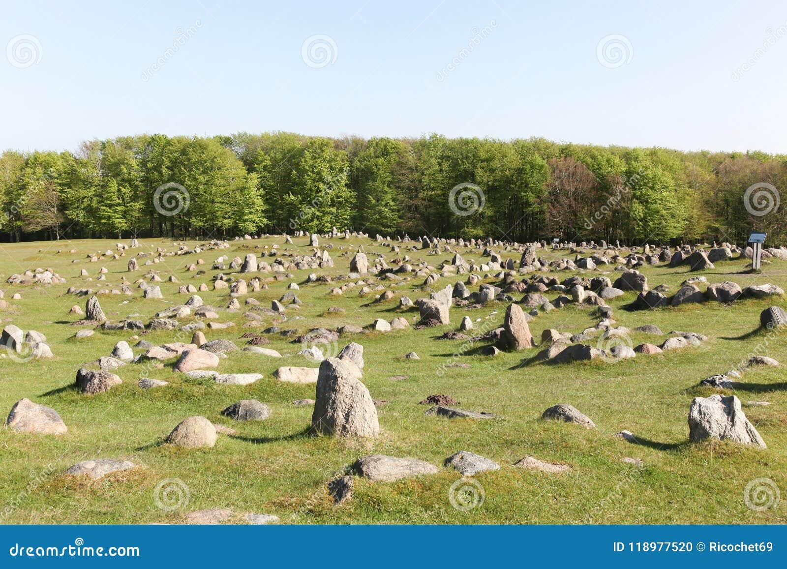 Lindholm-Hügel, die Lindholm Hoje auf Dänisch genannt werden, ist ein bedeutender Wikinger-Beerdigungsstandort