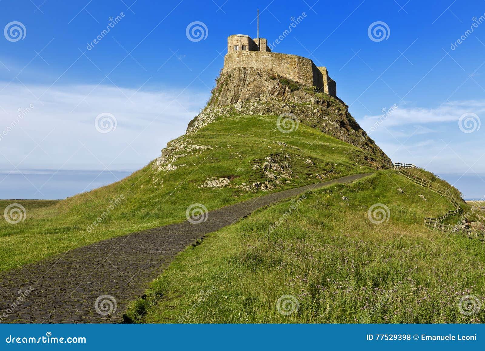 Lindisfarne kasztel na Northumberland wybrzeżu, Anglia, Zjednoczone Królestwo