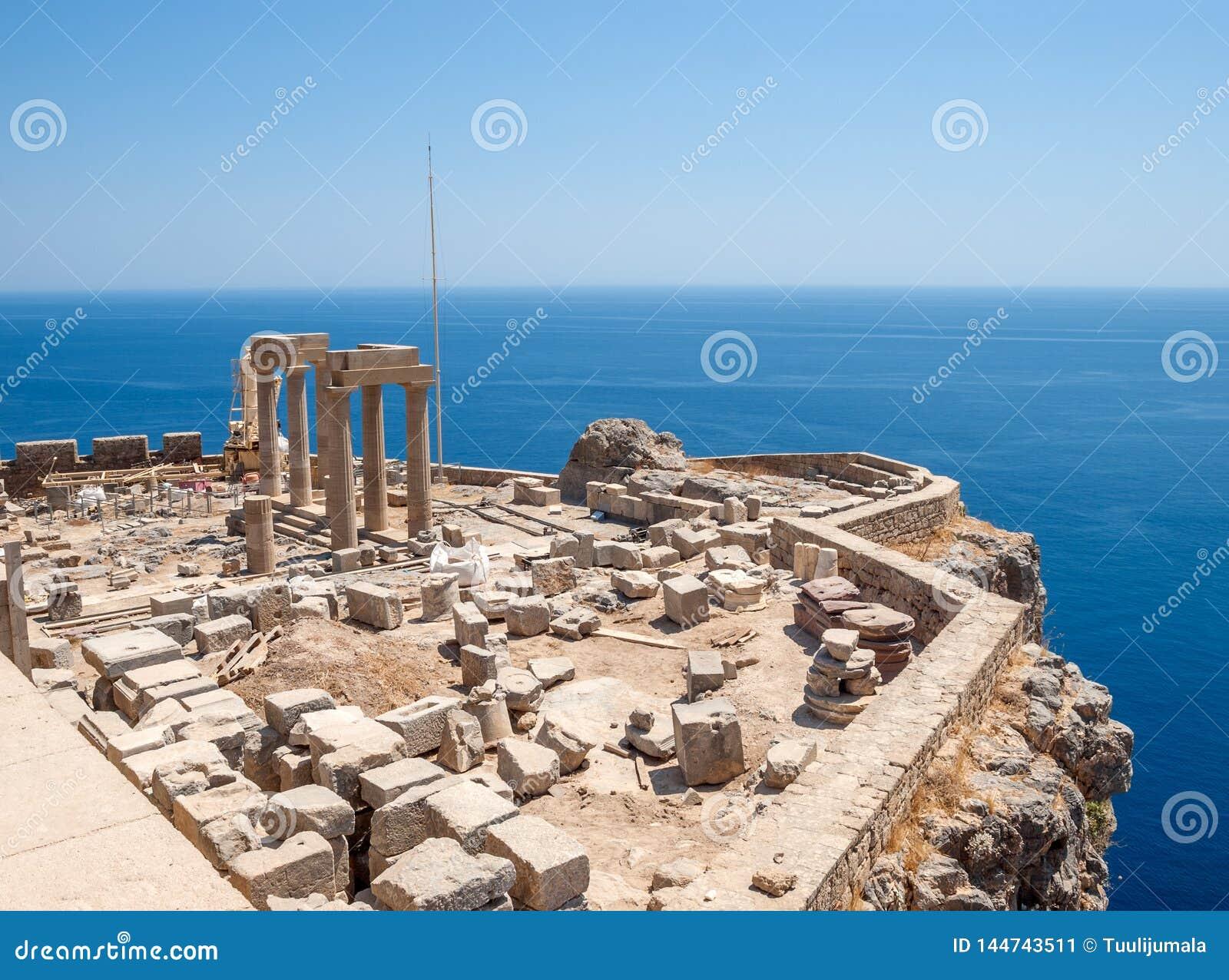 Lindos Acropolis Ruins on the Sea Cliff