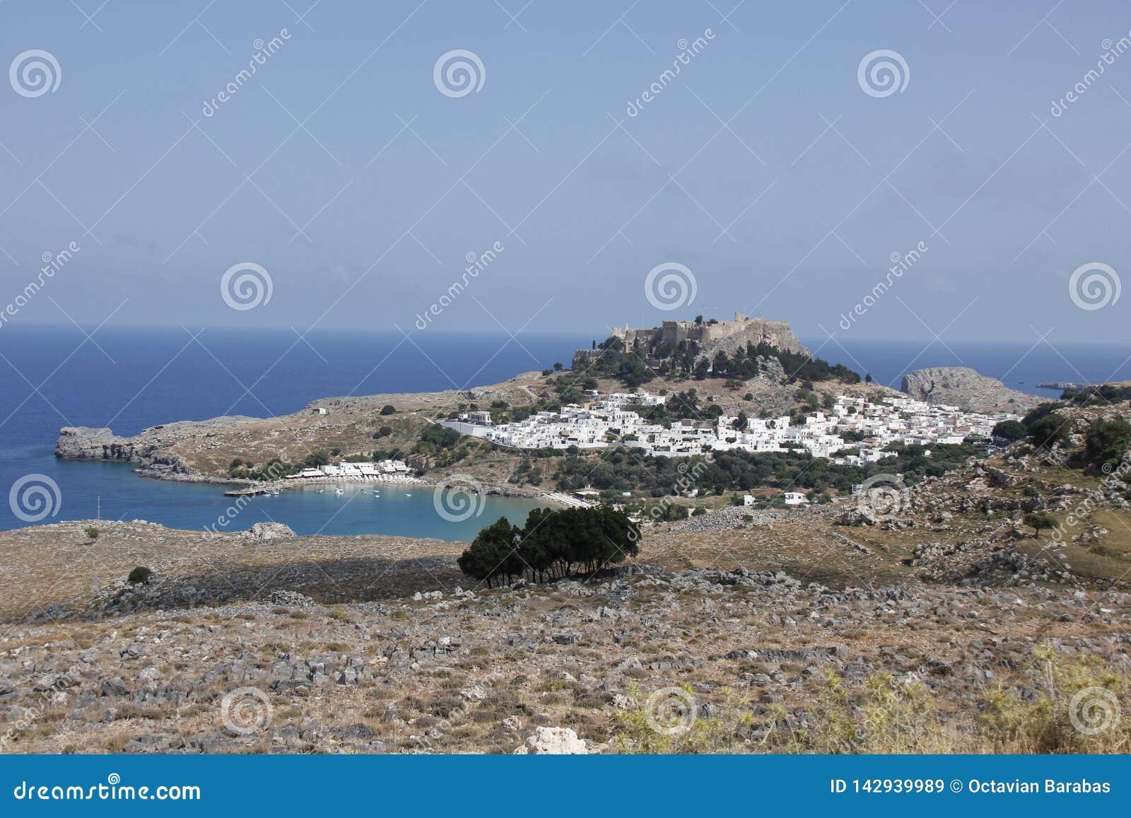 Lindosstad op het eiland van Rhodos in Griekenland in de zomer