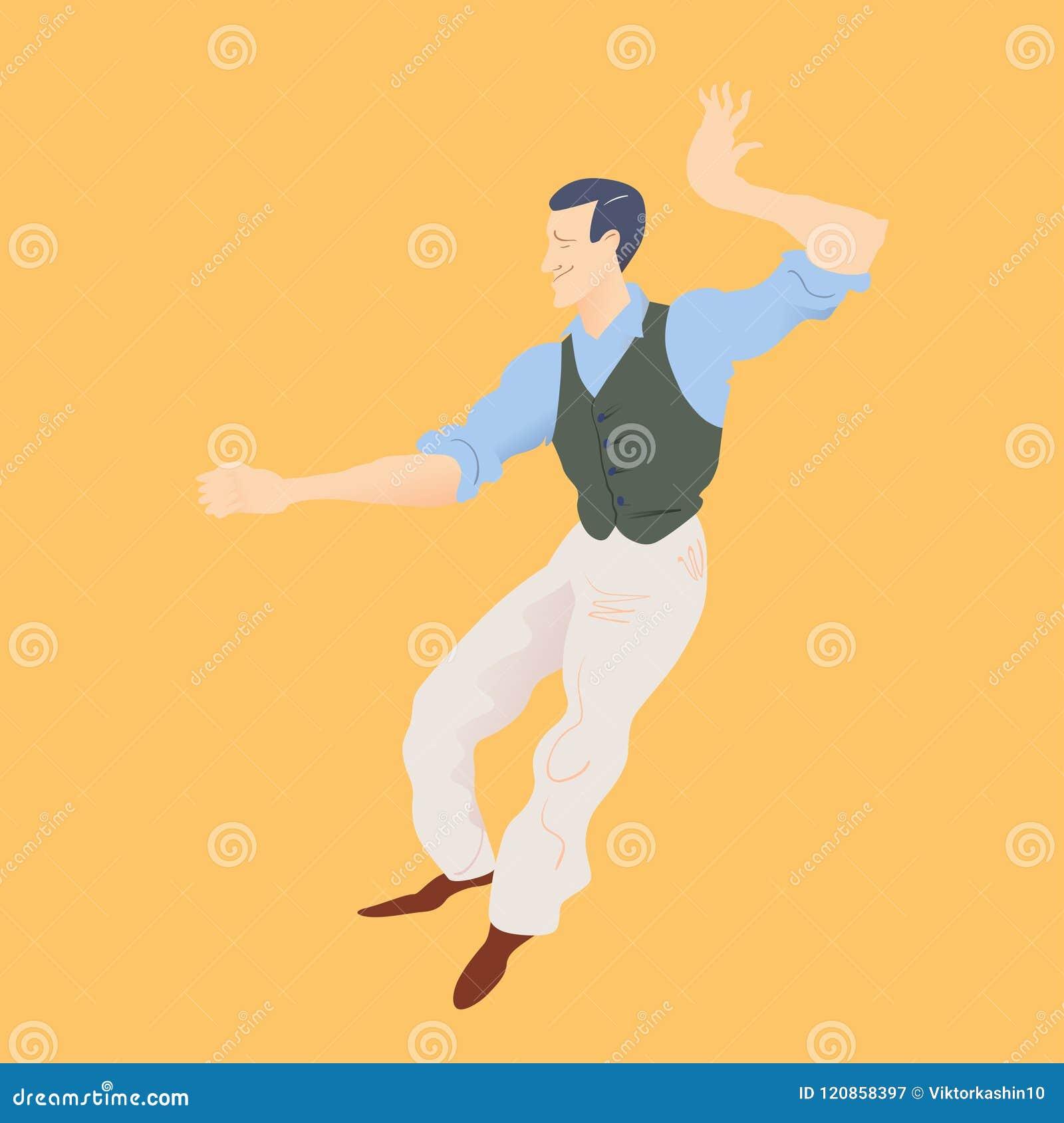 Lindy flygtur för mandans Stilfull retro man i byxa, blå skjorta och gräsplanwaistcoat också vektor för coreldrawillustration