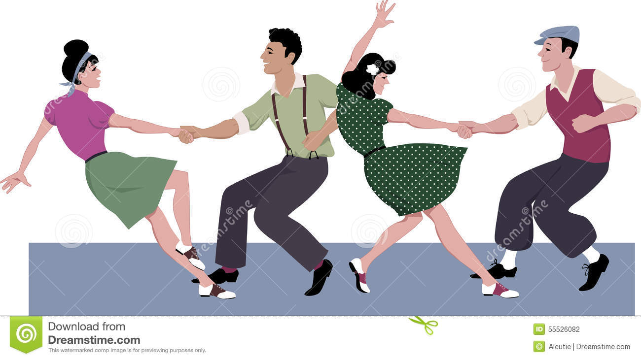 Two young couple dressed in 1940s fashion dancing lindy hop or swing ...