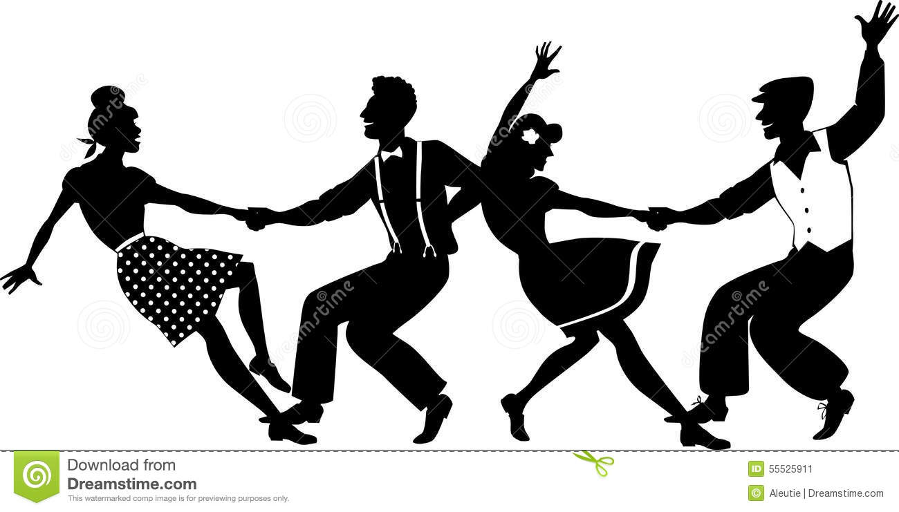 Lindy Hop Party Vector Silhouette Two Young Couple Dressed S Fashion Dancing Swing Formation No White Objects Eps on Jitterbug Bug