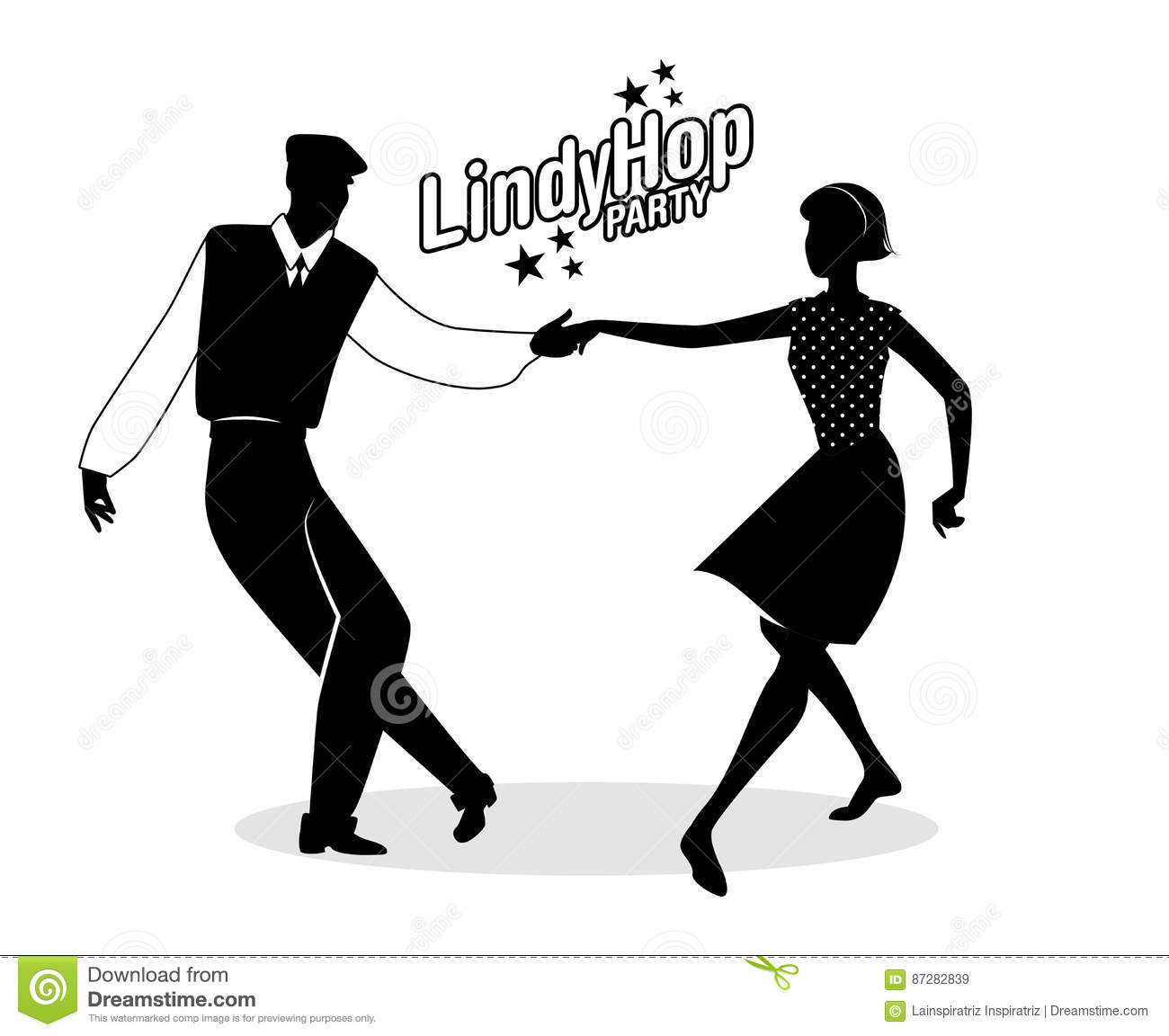 lindy hop party young hipster couple dancing swing