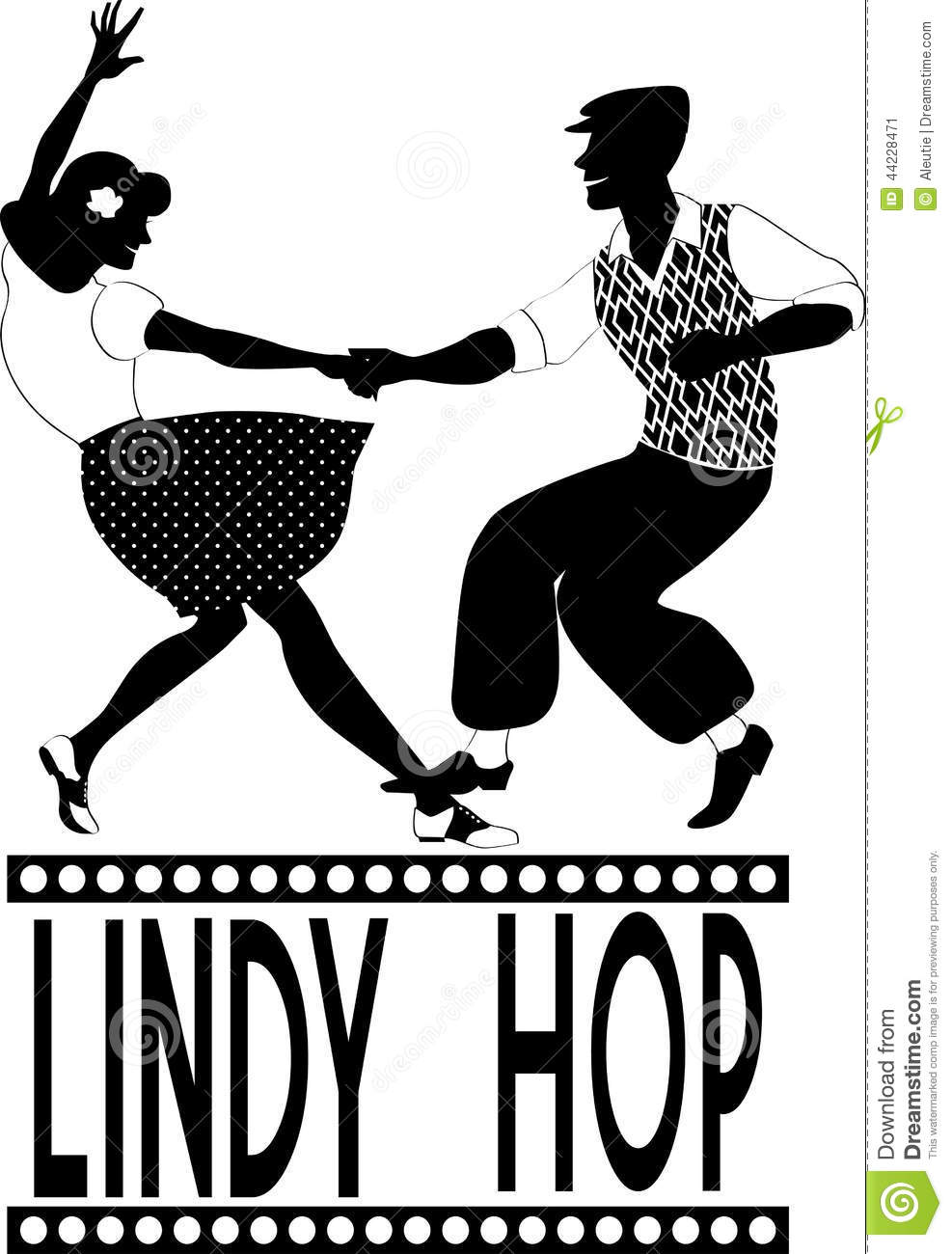 Lindy Hop Silhouette Stock Vector Image 44228471