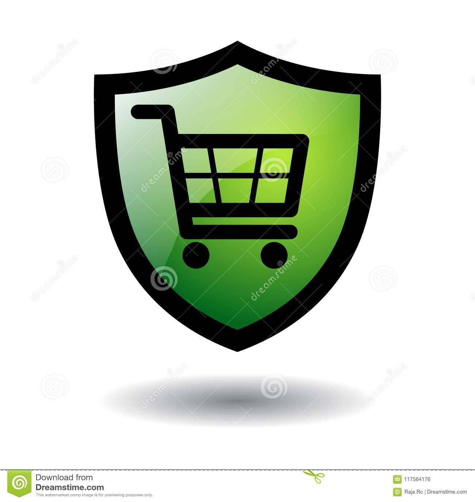 On-line ασφαλές εικονίδιο αγορών που απομονώνεται