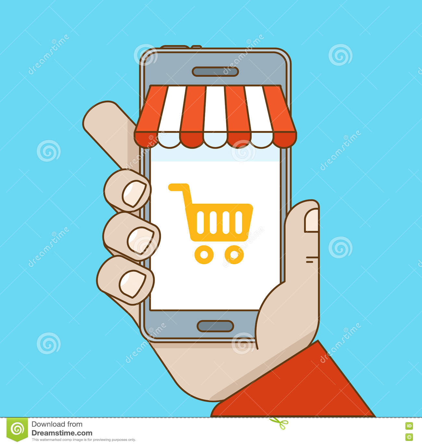On-line να ψωνίσει και κινητή έννοια ηλεκτρονικού εμπορίου