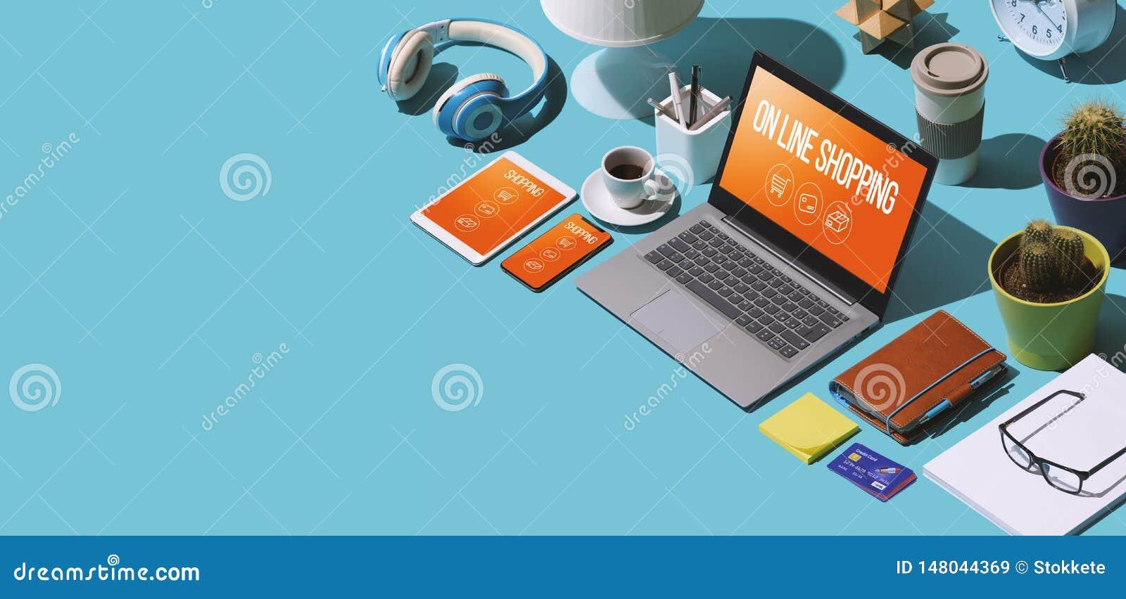 On-line ψωνίζοντας apps στο lap-top και τις κινητές συσκευές