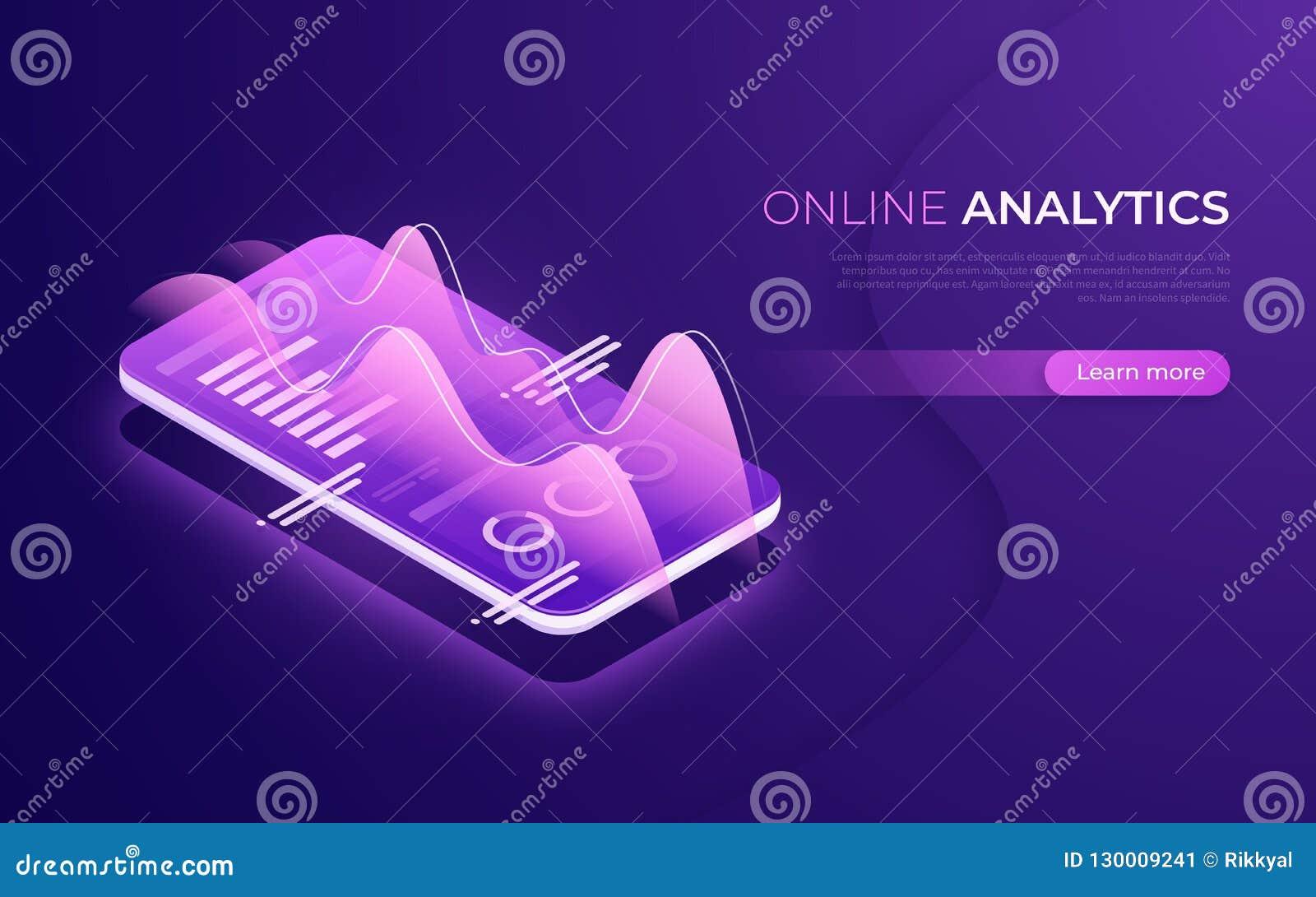 On-line-Analytics, Datenanalyse, isometrisches Konzept der Finanzleistung