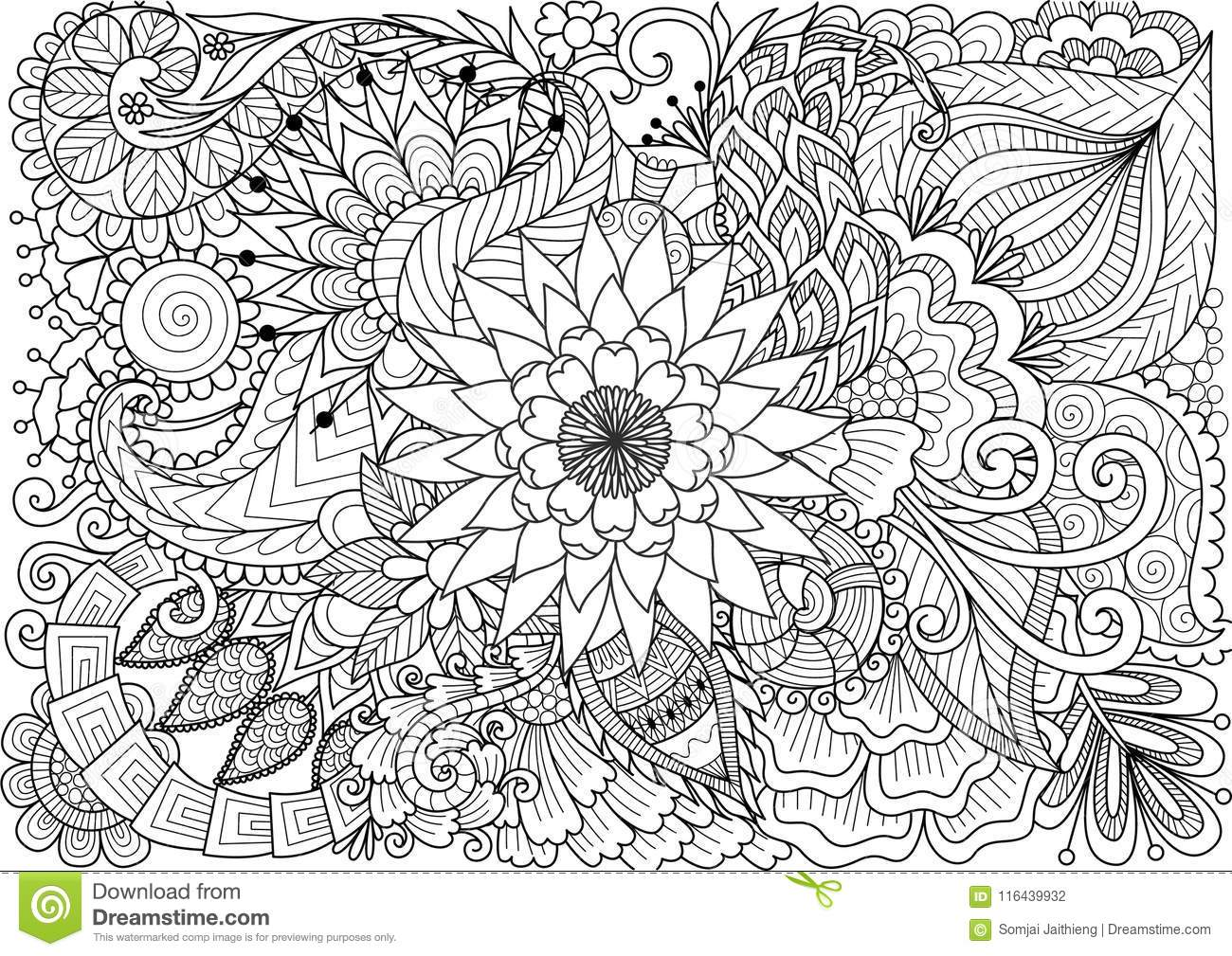 Royalty Free Vector Download Line Art Of Beautiful Flowers For Background And Coloring Book Page Adult