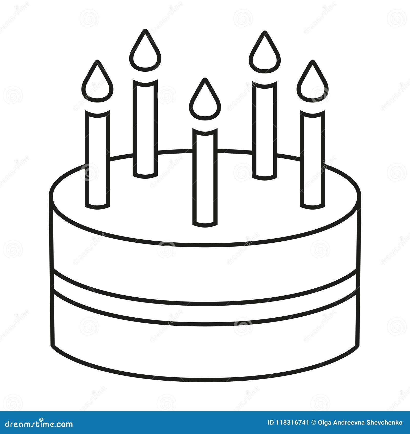 Surprising Line Art Black And White Birthday Cake 5 Candles Stock Vector Personalised Birthday Cards Akebfashionlily Jamesorg