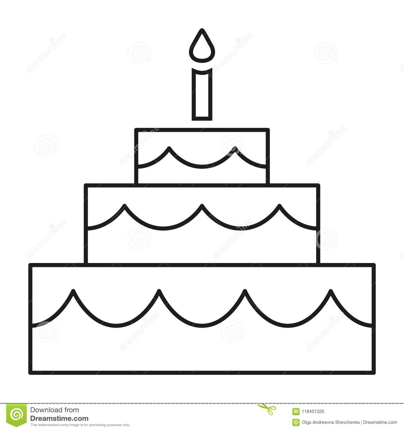Line Art Black And White Birthday Cake Stock Vector Illustration