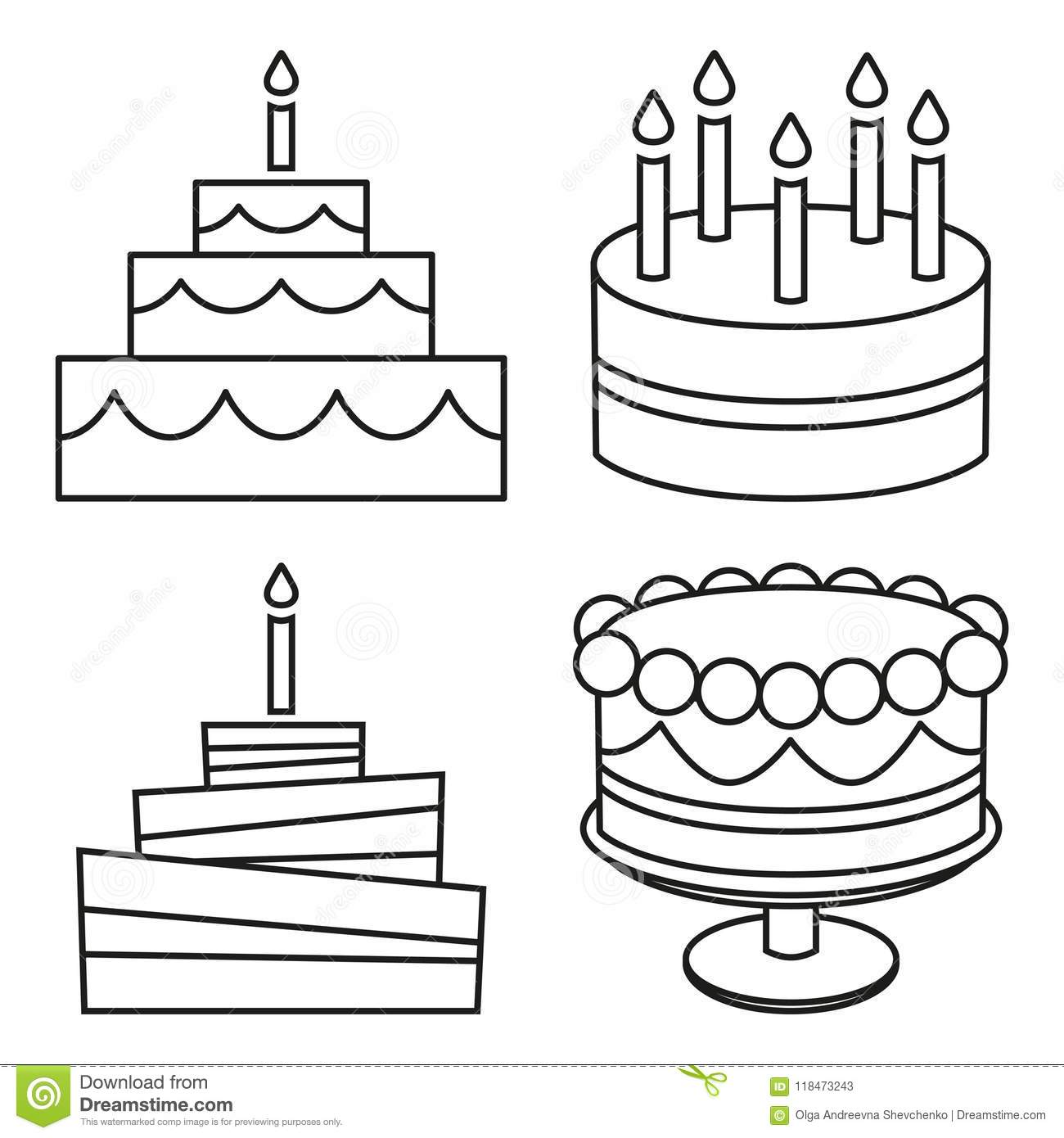 Line Art Black And White Birthday Cake Set Stock Vector