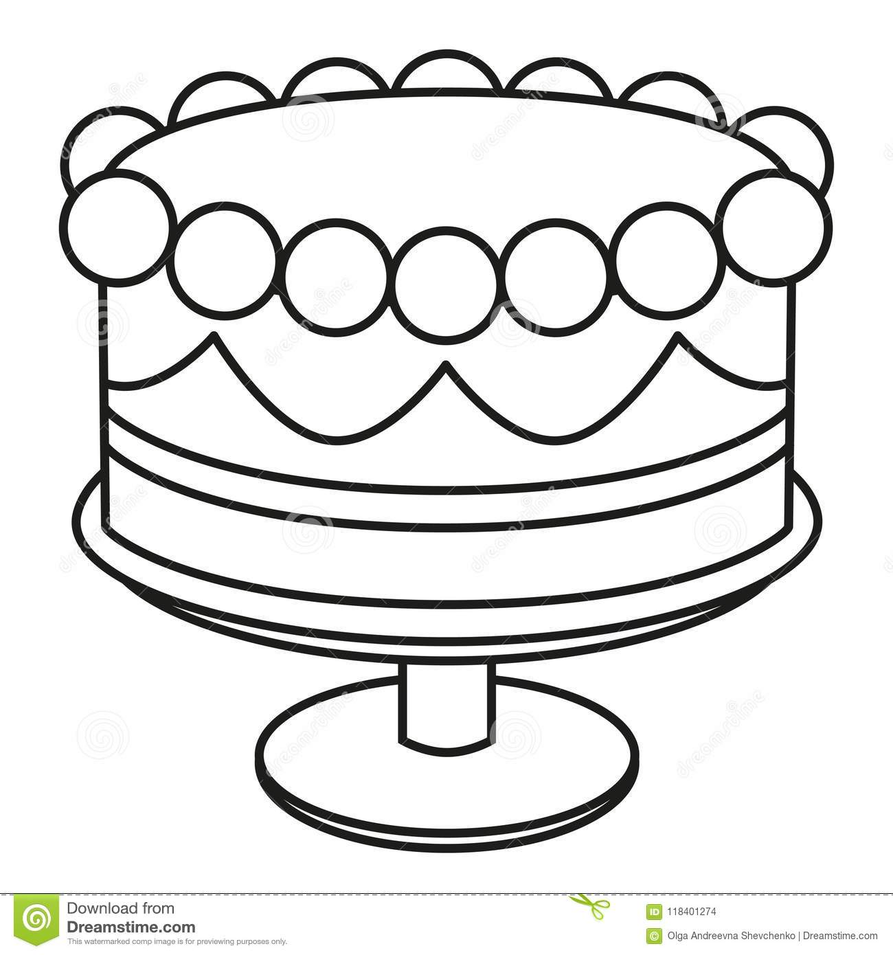 Admirable Line Art Black And White Birthday Cake On Stand Stock Vector Personalised Birthday Cards Akebfashionlily Jamesorg
