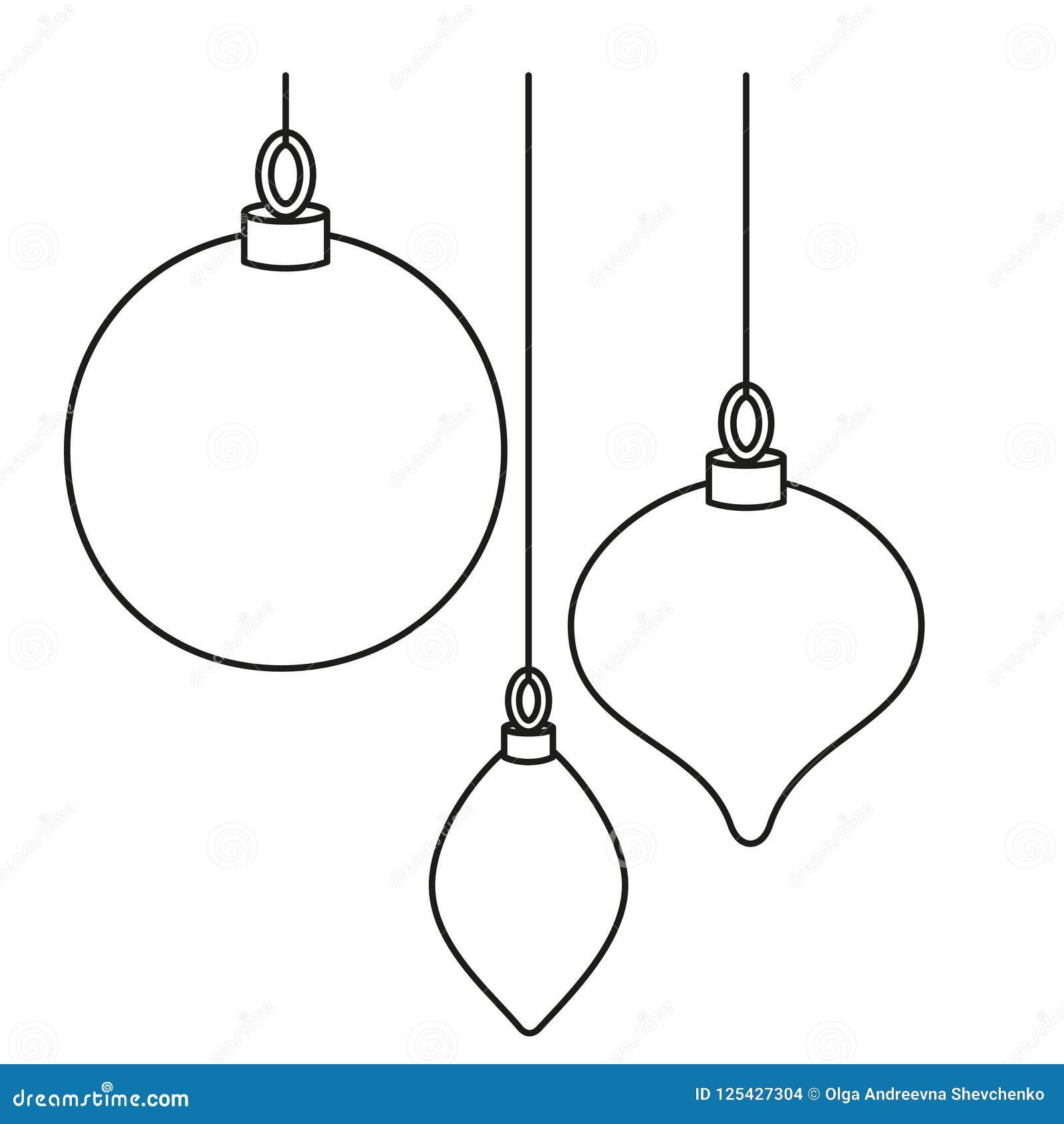 Line Art Black White Christmas Tree Decorations Stock Vector Illustration Of Card Gift 125427304