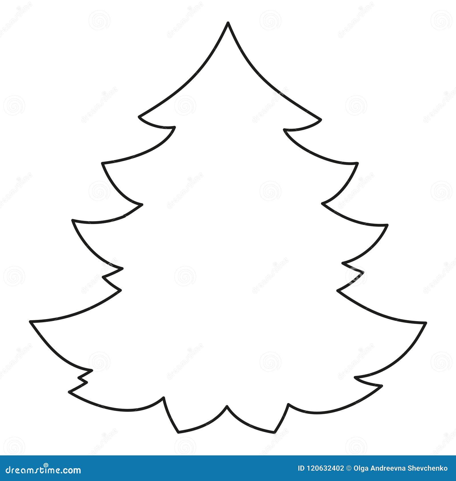 Line Art Black And White Christmas Tree Stock Vector