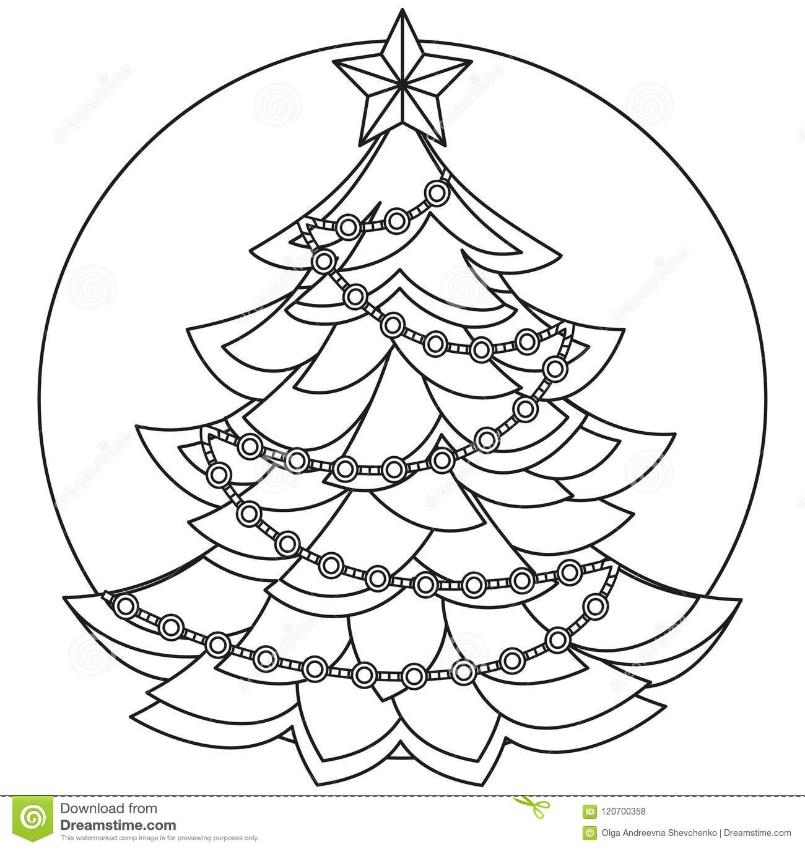 Line Art Black And White Christmas Tree Stock Vector Illustration