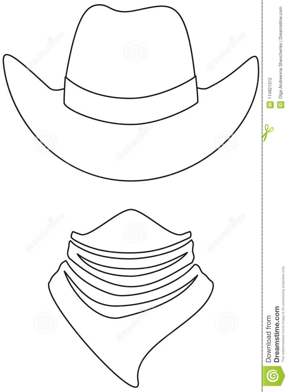 1504331a2d917 Line art black and white cowboy avatar set. Hat and bandana scarf. Wild  west vector illustration for gift card certificate sticker
