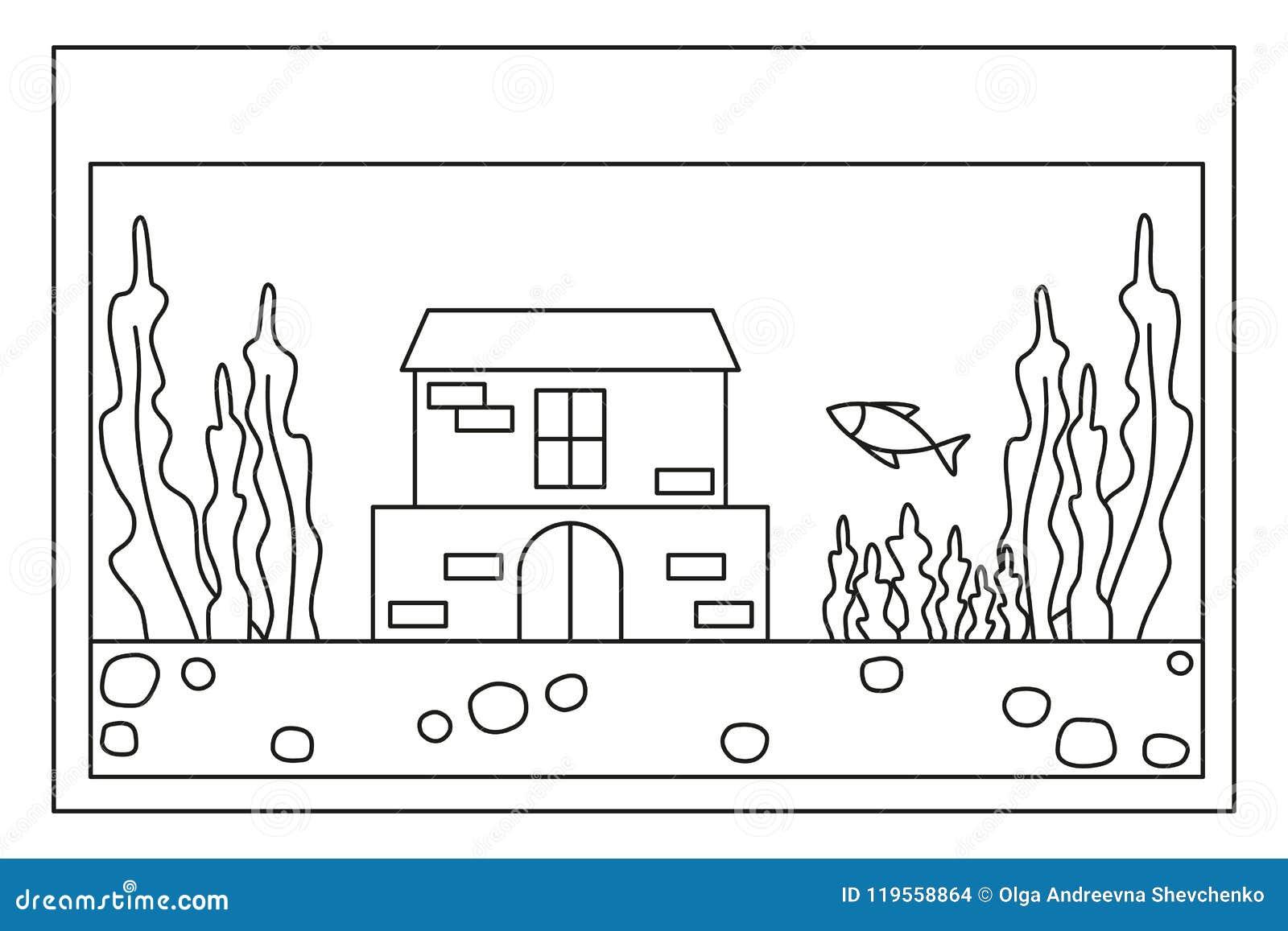 Line Art Black And White Fish Aquarium Stock Vector - Illustration ...