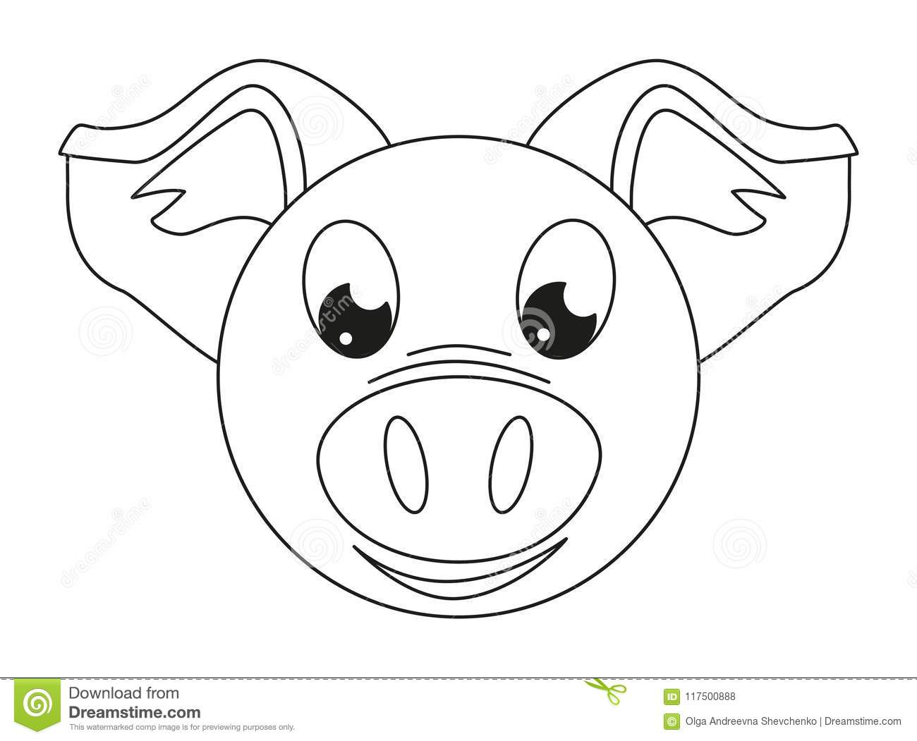 Line Art Black And White Pig Face Stock Illustration - Illustration ...